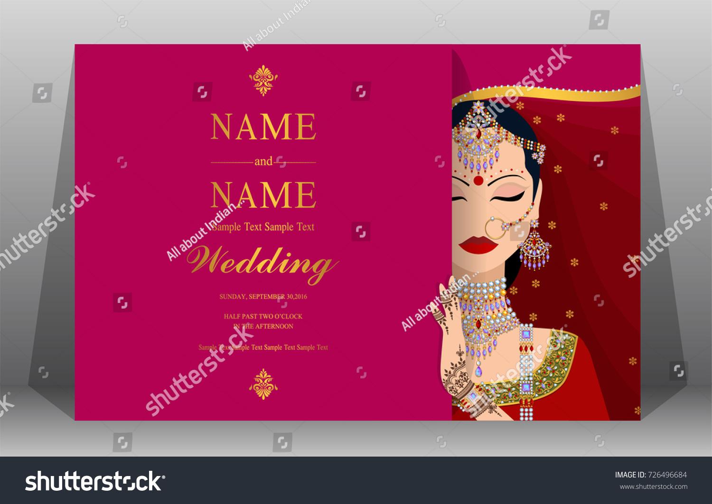 Indian Wedding Invitation Card Templates Women Stock Vector (Royalty ...