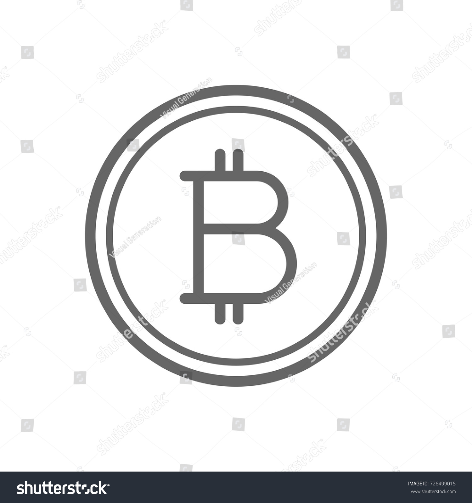 Bitcoin Coin Line Icon Cryptocurrency Stock Vector 726499015