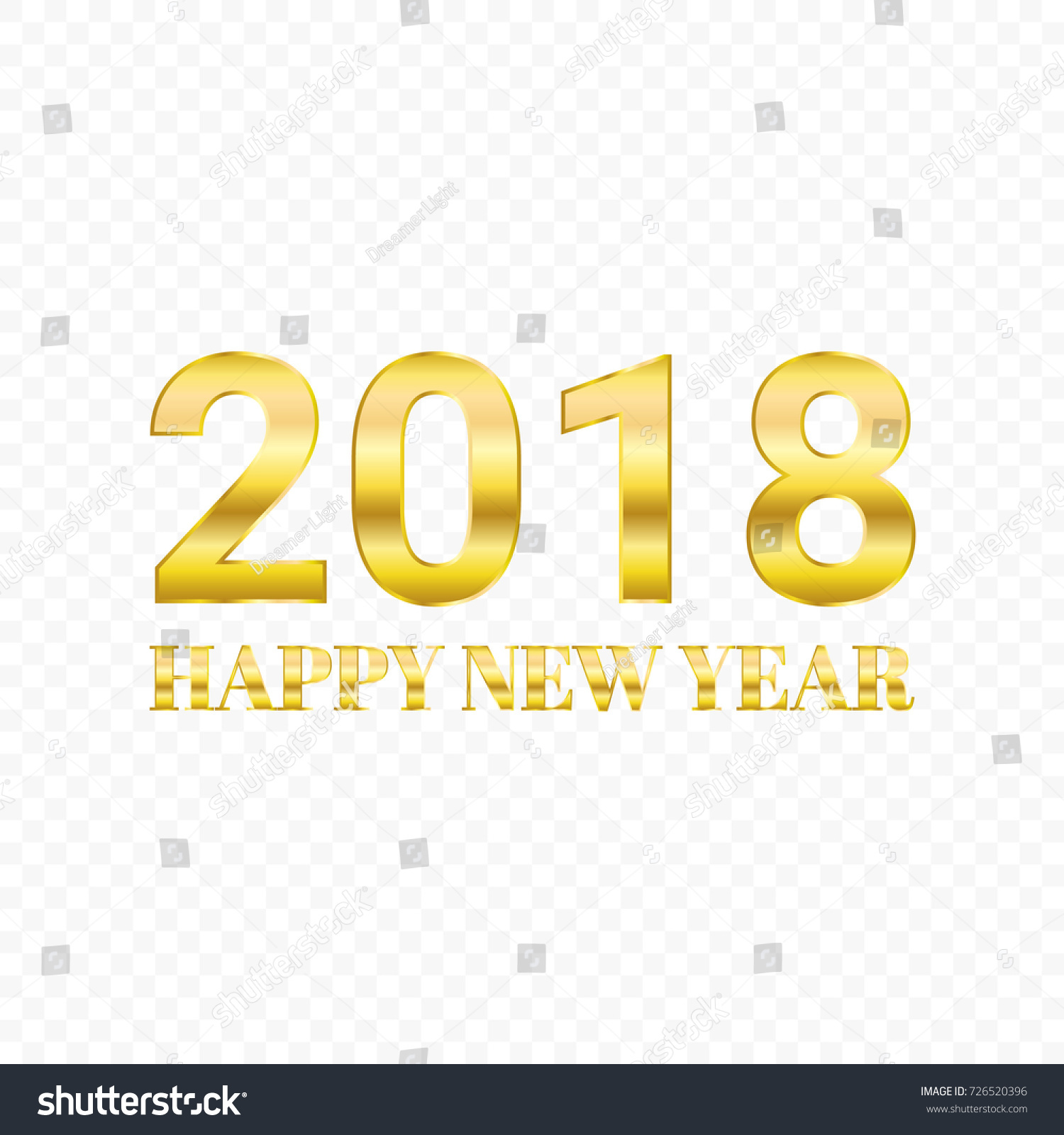 golden happy new year 2018 isolated on transparent background vector illustration