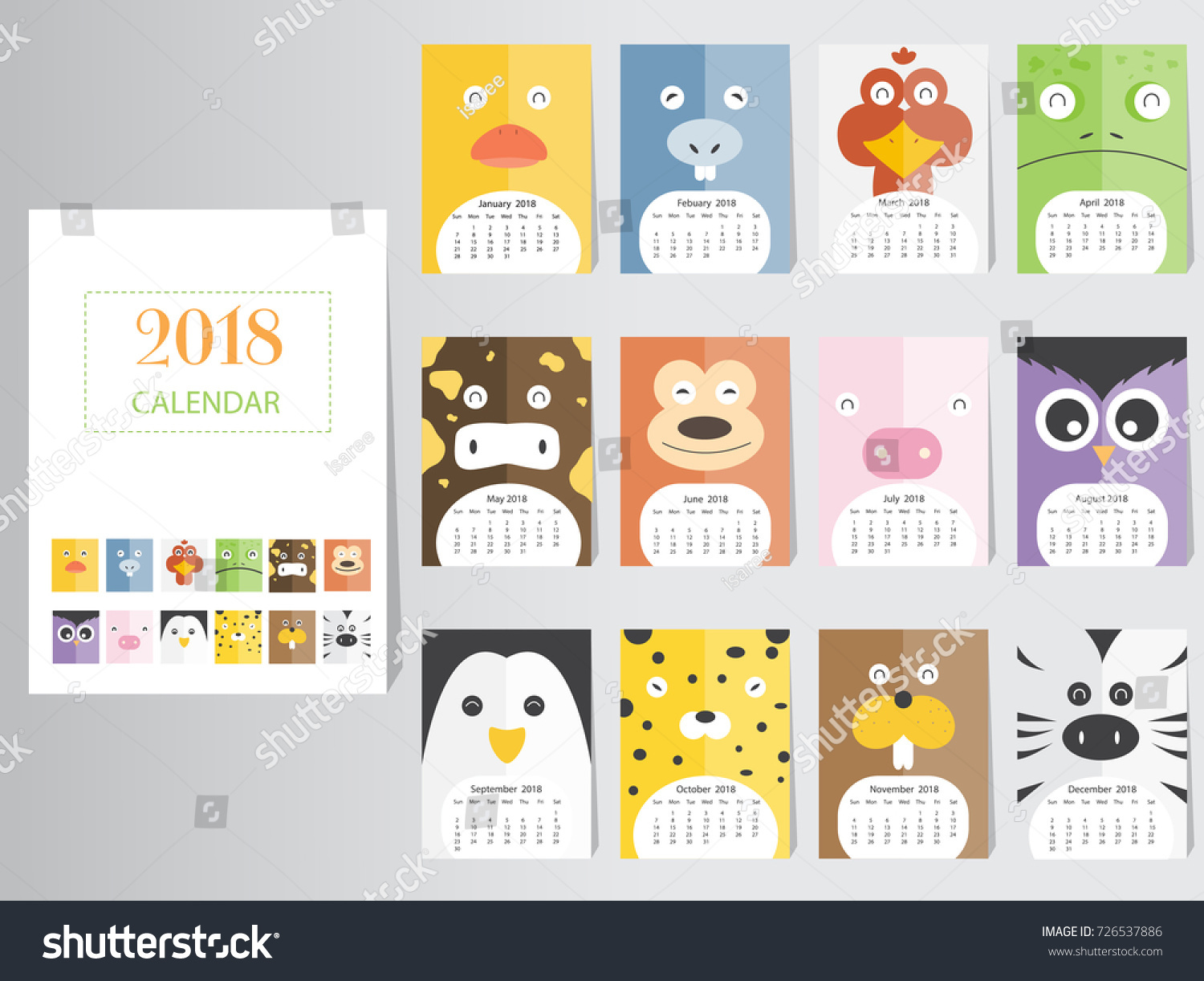 Funny Animal Calendar 2018 Designthe Year Stock Vector 726537886 ...