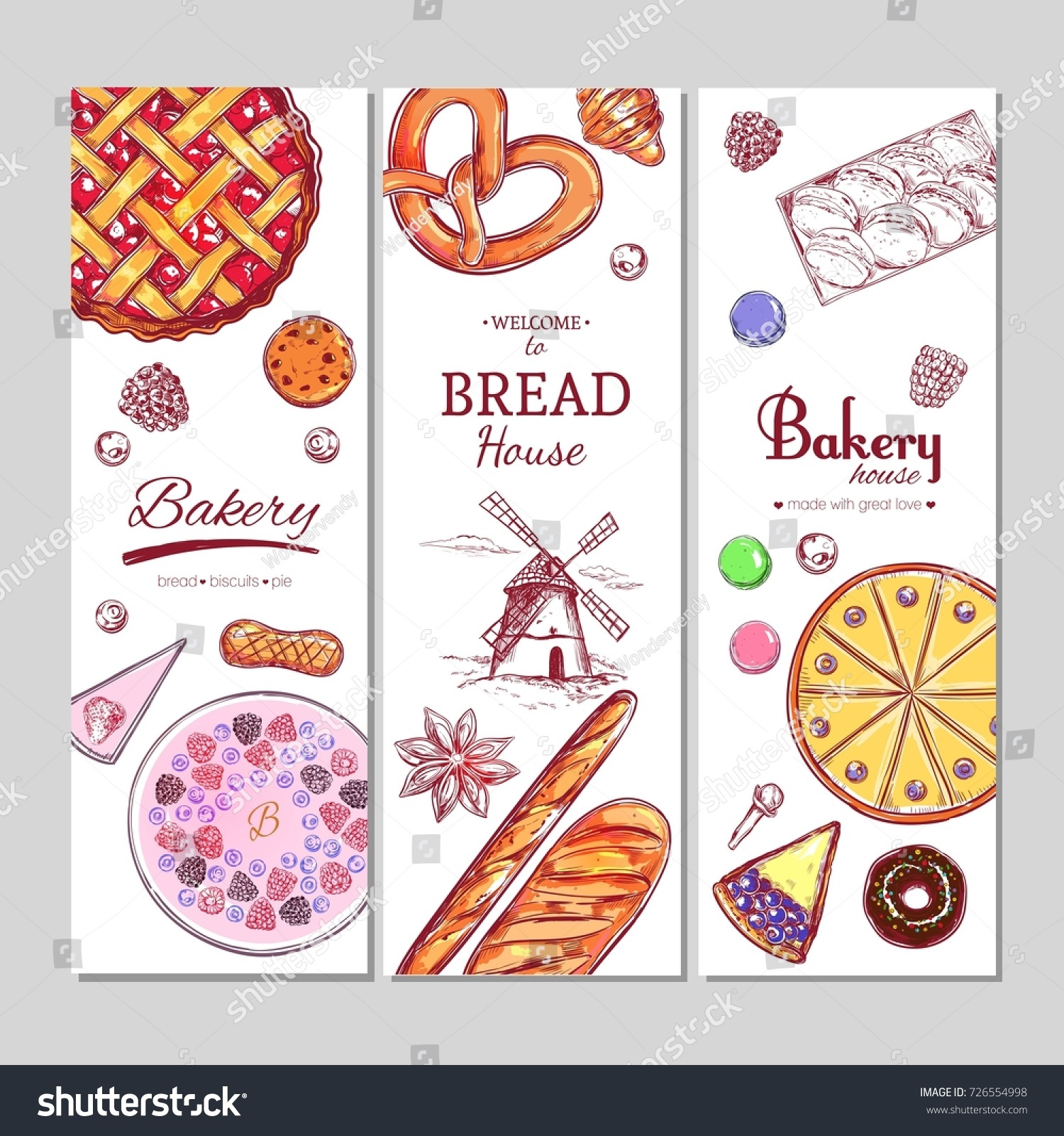 bakery bread banners different types pastries stock vector 726554998