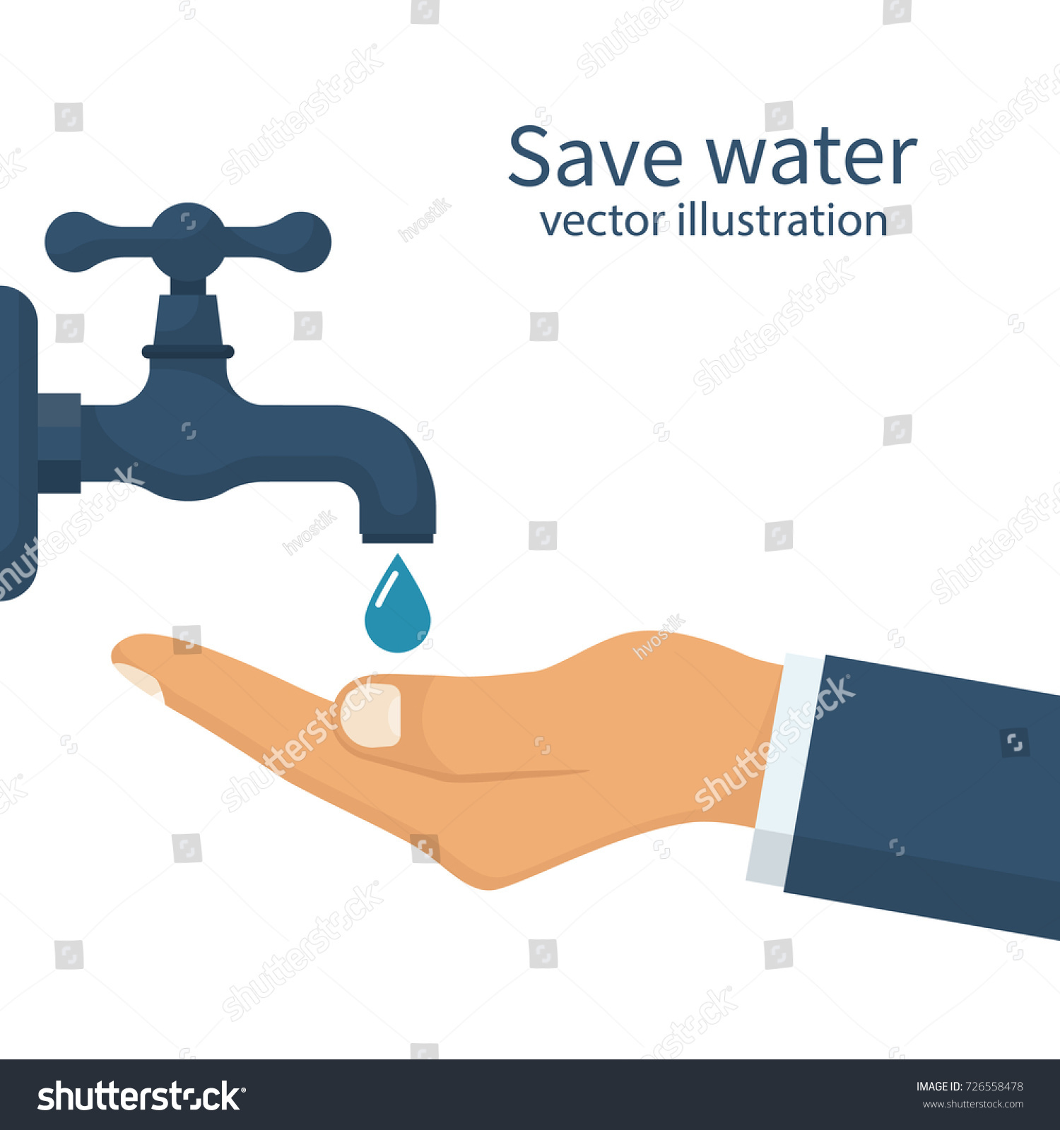 Save Water Concept Hand Faucet Shut Stock Vector 726558478 ...