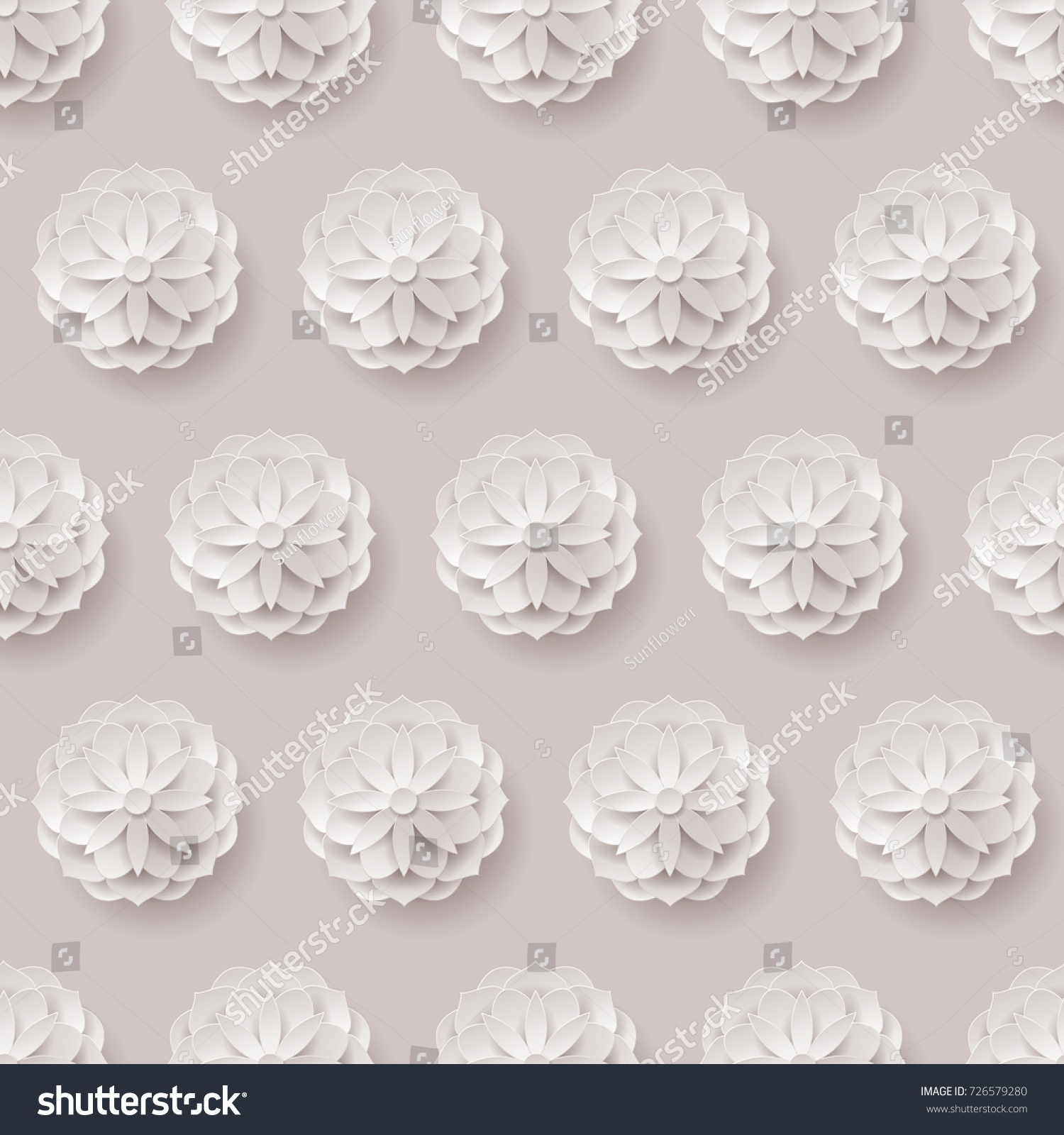 Paper Flowers Seamless Pattern Paper Volume Stock Vector Royalty