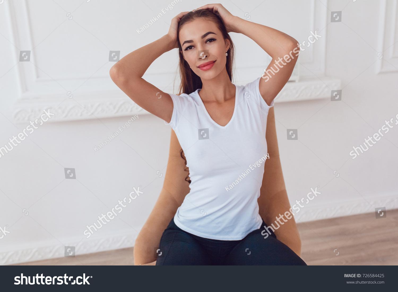 Woman Big Breast White Tshirt Sitting Stock Photo (Edit Now ...