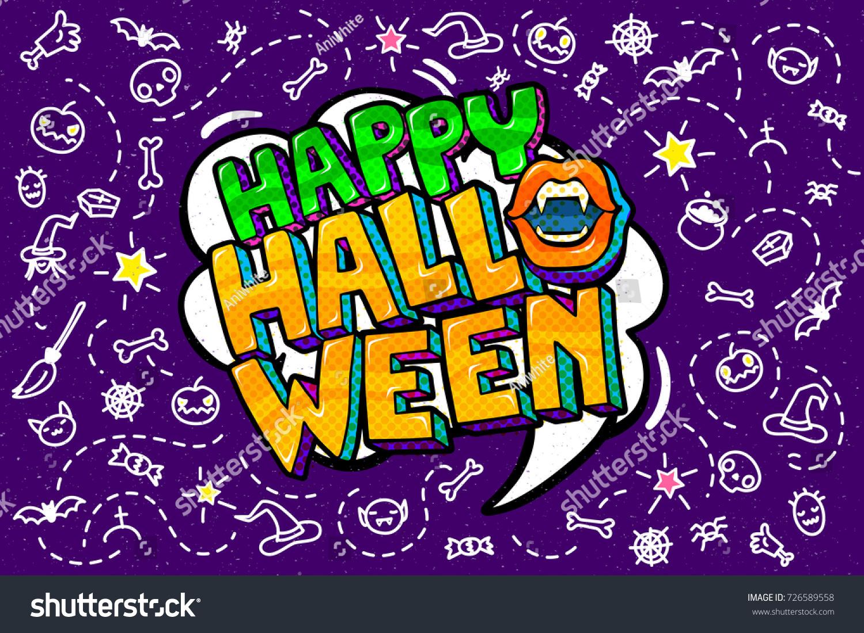 halloween illustration. happy halloween message in pop art style