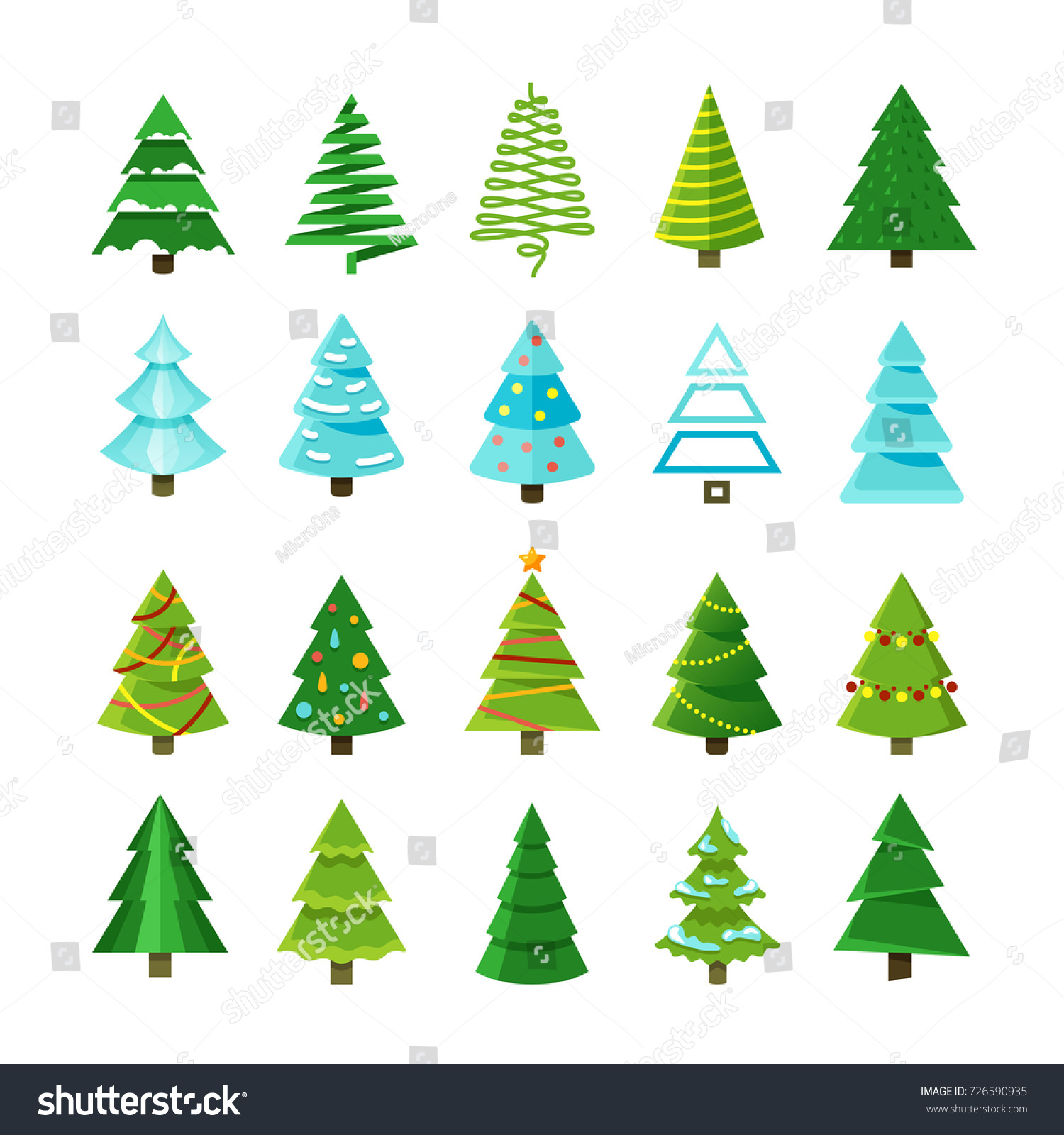 flat christmas winter trees with festive xmas decoration vector collection winter christmas tree set illustration - Flat Christmas Tree