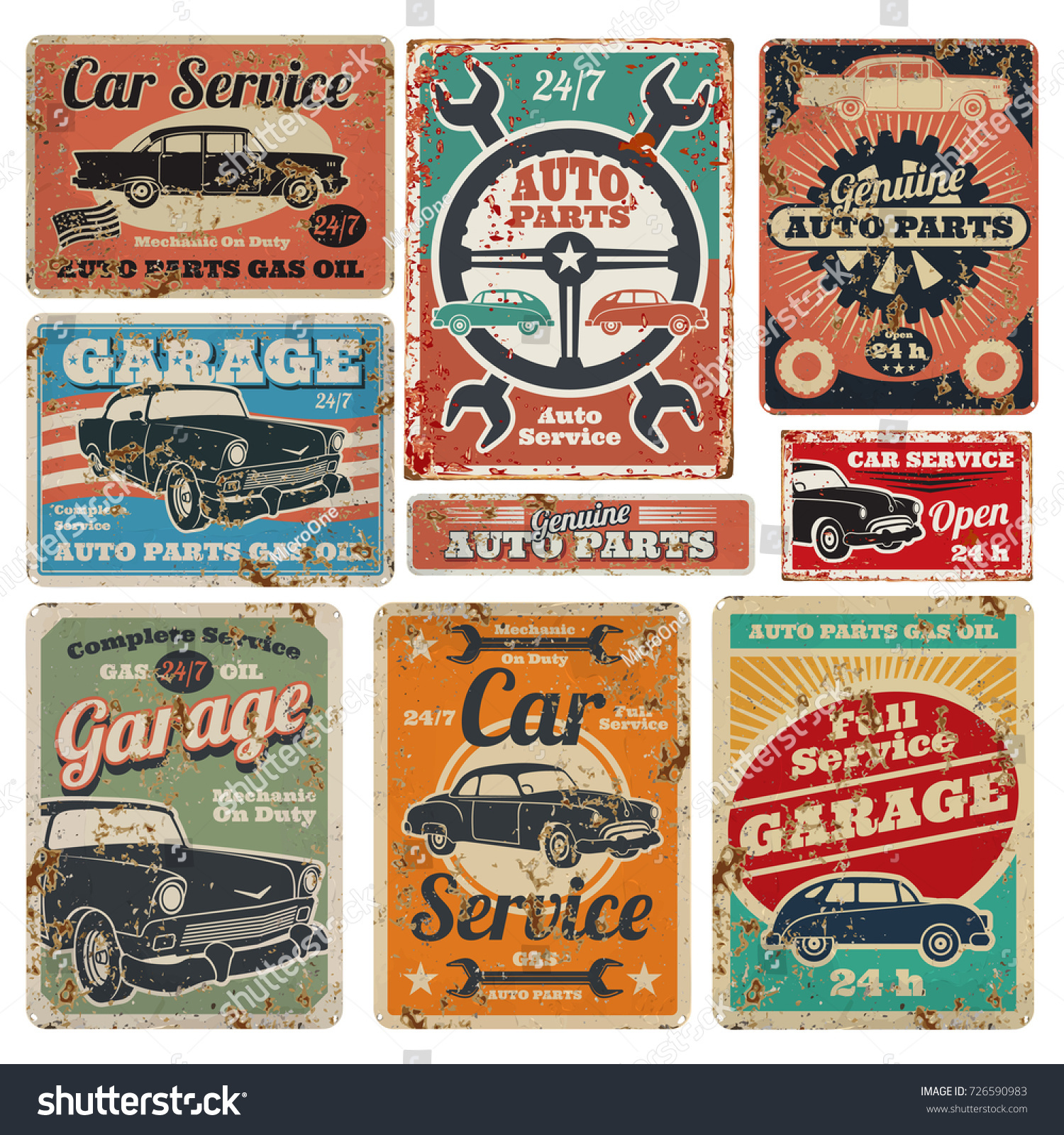 Vintage road vehicle repair service garage stock vector for Garage auto discount montpellier