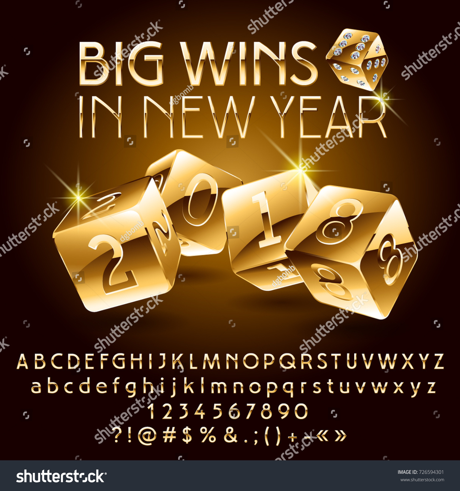 Vector Casino Happy New Year Greeting Card Golden Alphabet Set Of Letters Numbers And