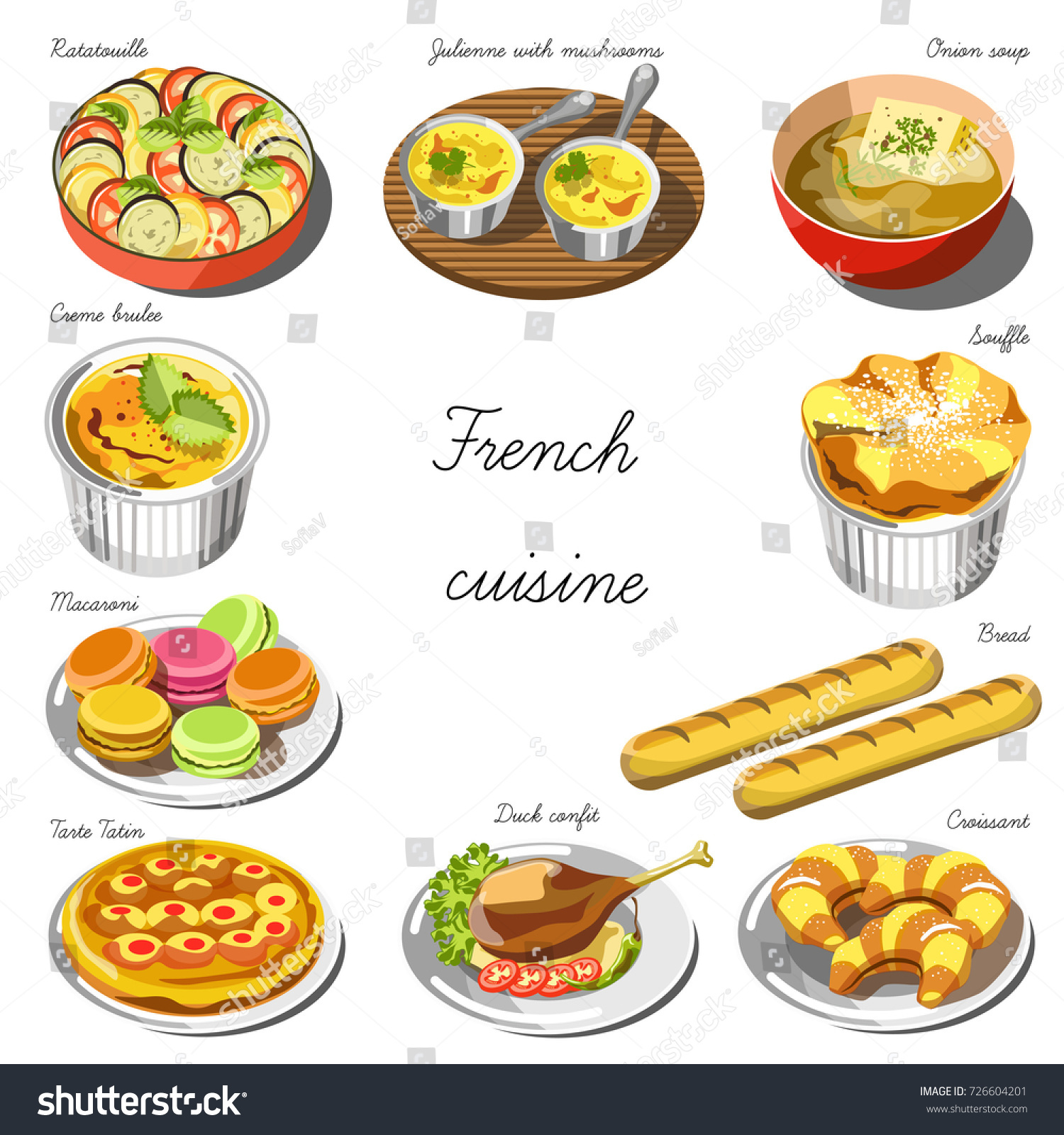 French cuisine icons restaurant menu template stock vector for Artistic cuisine menu