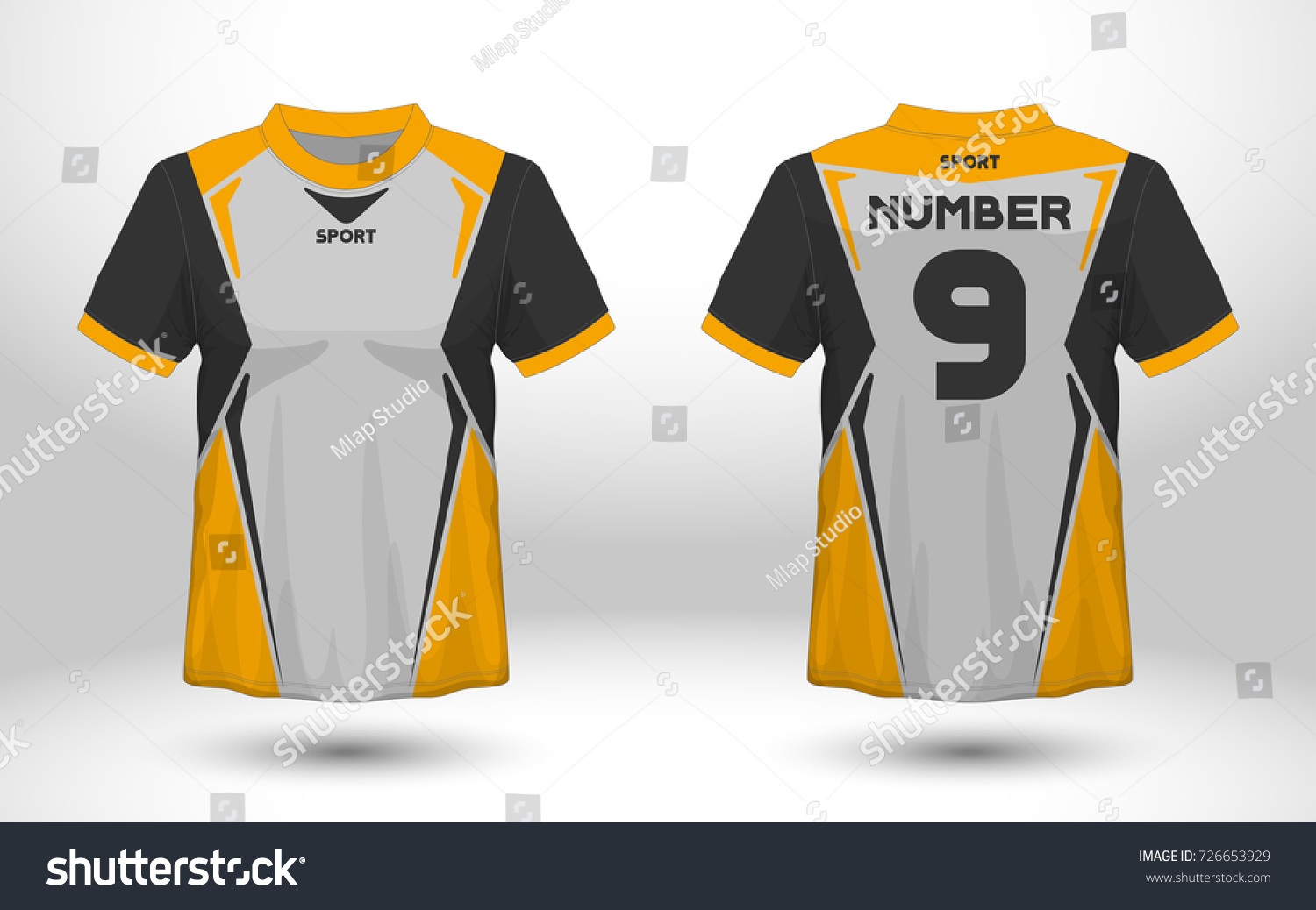 24e5d1b8f Yellow and black layout football sport t-shirt design. Template front, back  view. Soccer kit national team shirt mock up. Vector Illustration. - Vector