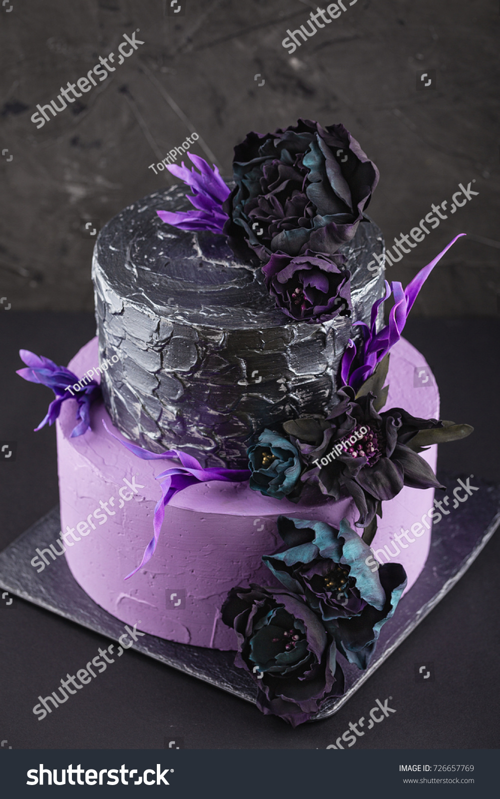 Amazing Purple Dark Silver Tiered Wedding Cake Stock Photo Edit Now Personalised Birthday Cards Epsylily Jamesorg