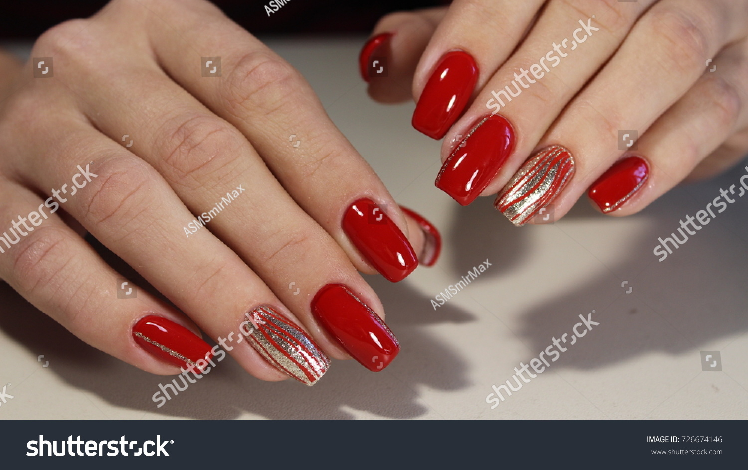 Nail Designs Different Sequins On Red Stock Photo (Royalty Free ...
