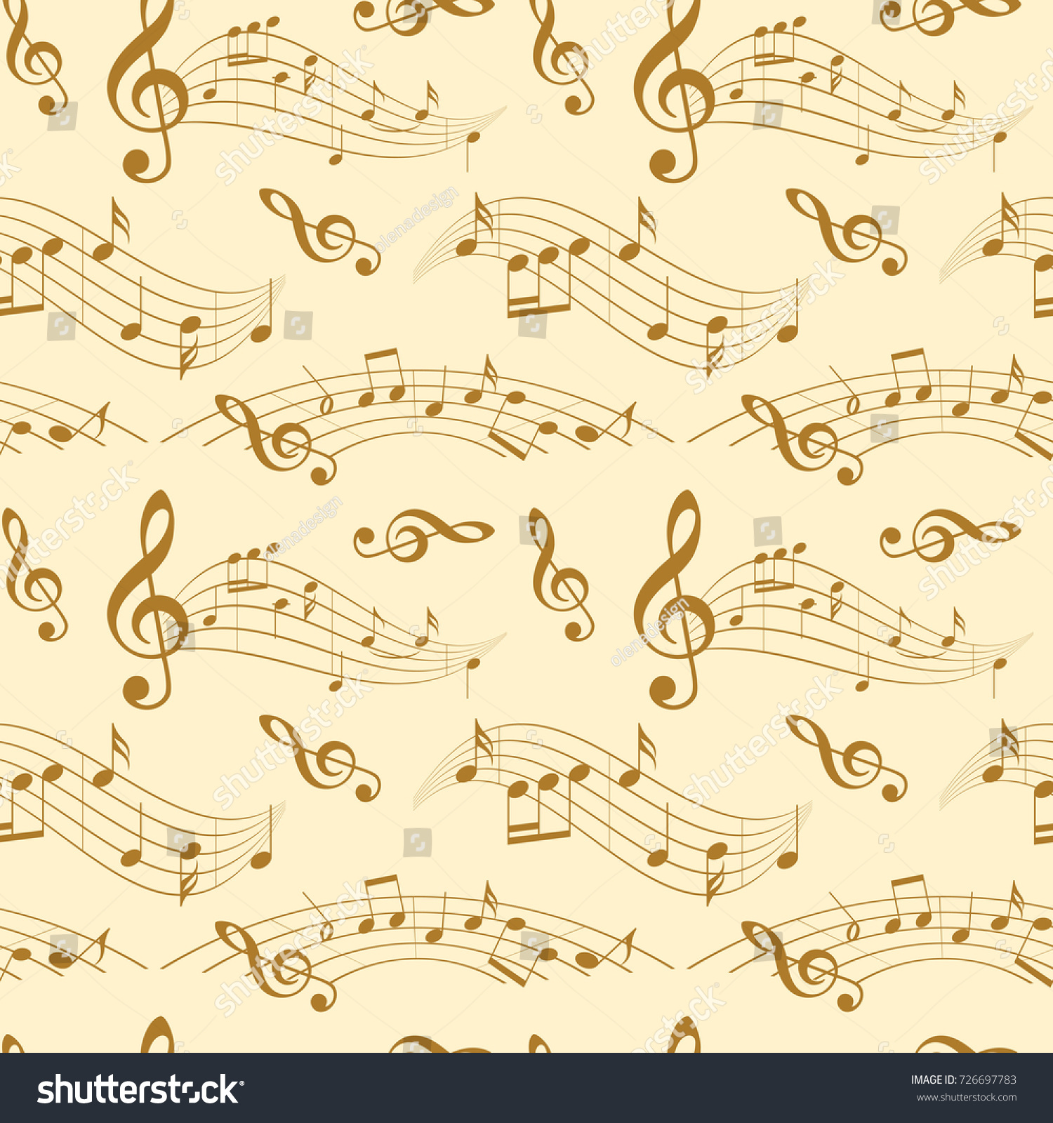 Beige Seamless Pattern Wavy Music Notes Stock Vector HD (Royalty ...