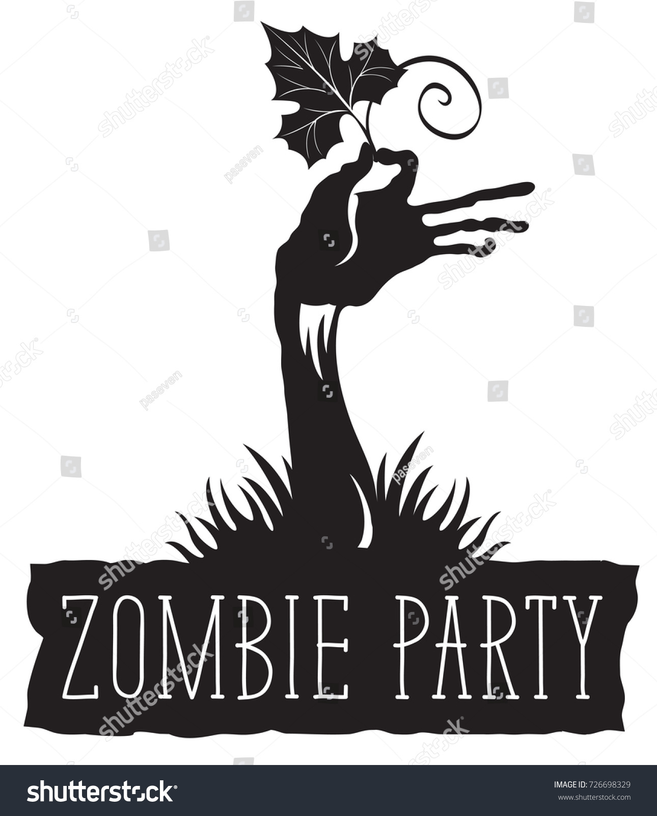 Vector Lettering Zombie Party Zombie Hand Stock Vector (Royalty Free ...