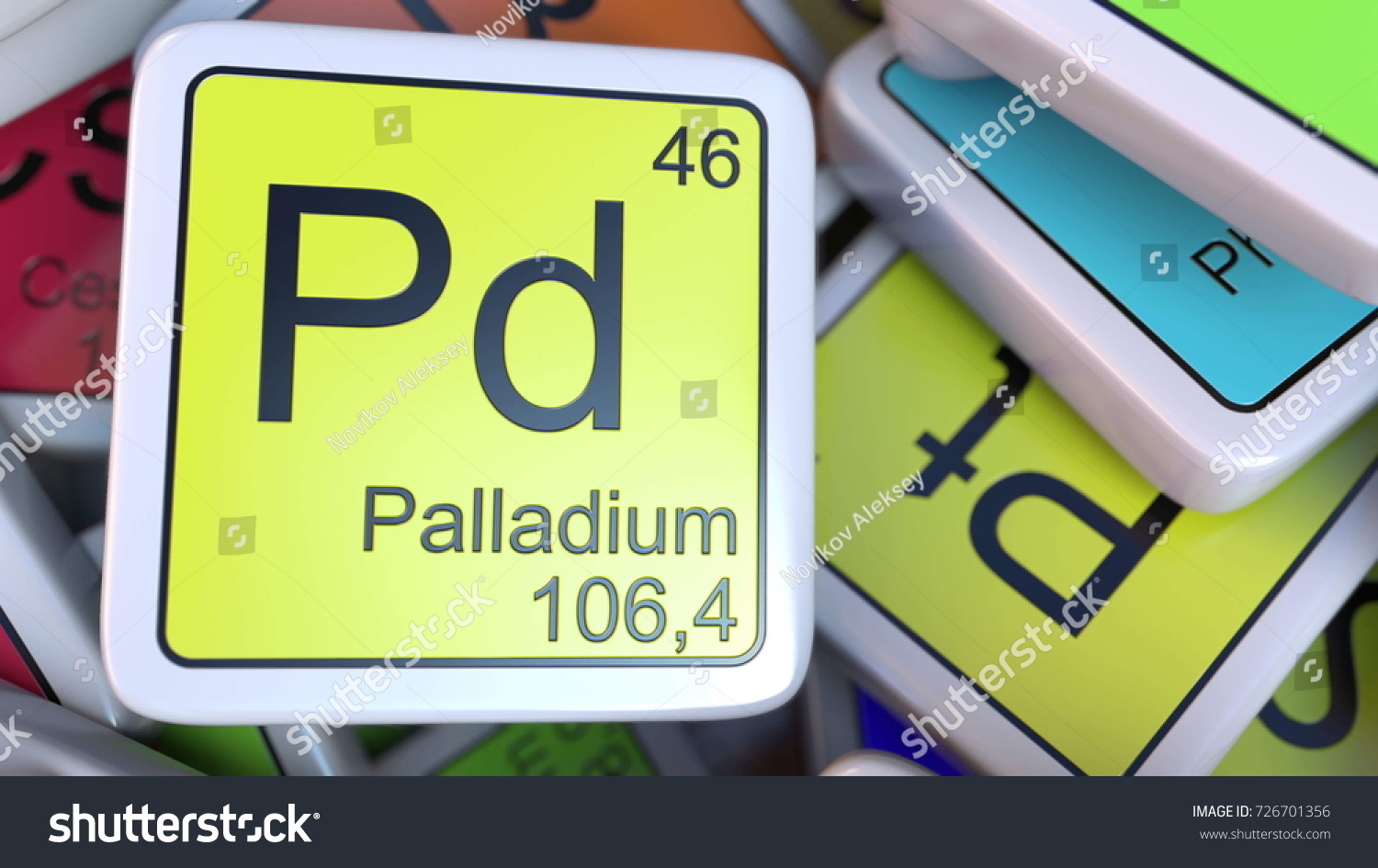 Palladium pd block on pile periodic stock illustration 726701356 palladium pd block on the pile of periodic table of the chemical elements blocks chemistry gamestrikefo Images