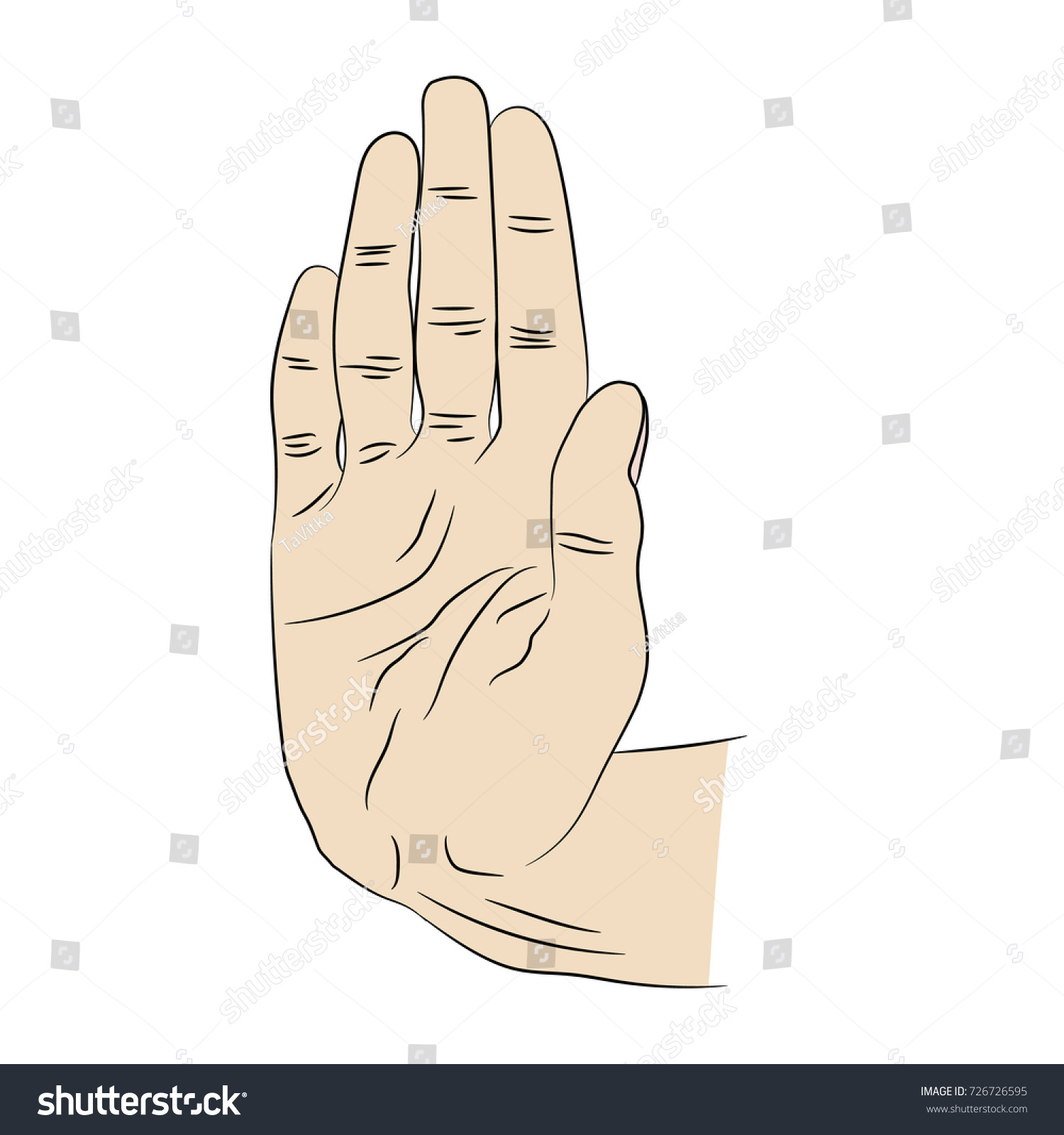 Isolated White Palm Hand That Shows Stock Vector Hd Royalty Free