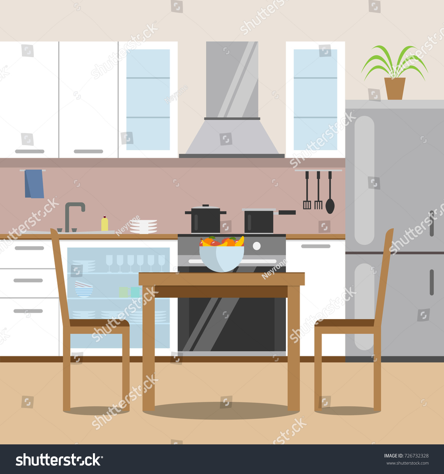 kitchen with furniture set cozy room interior with table stove cupboard and dishes