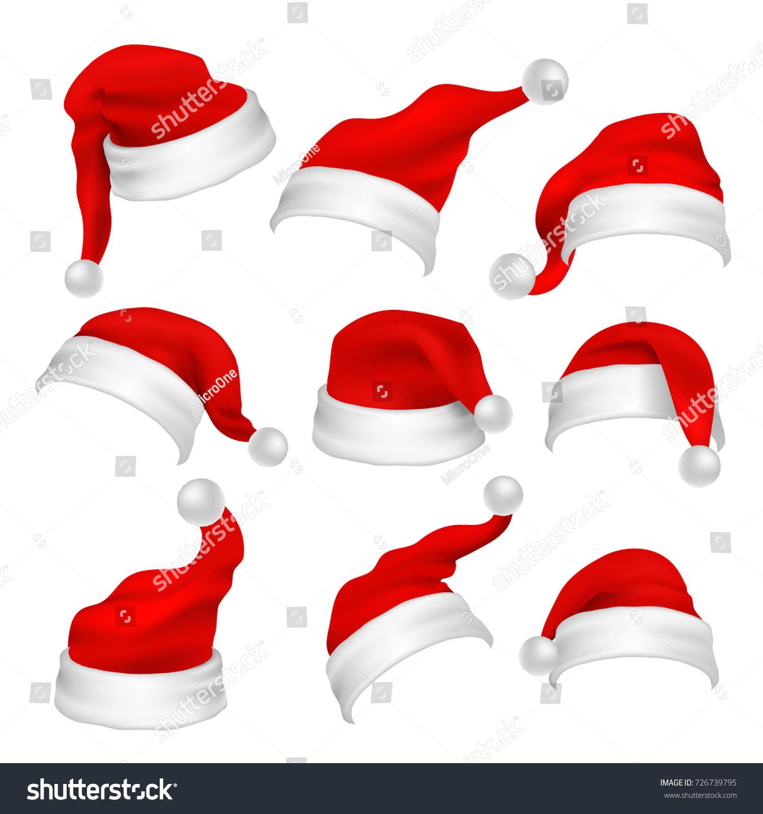 santa claus red hats photo booth props christmas holiday decoration vector elements santa claus - Santa Claus Red