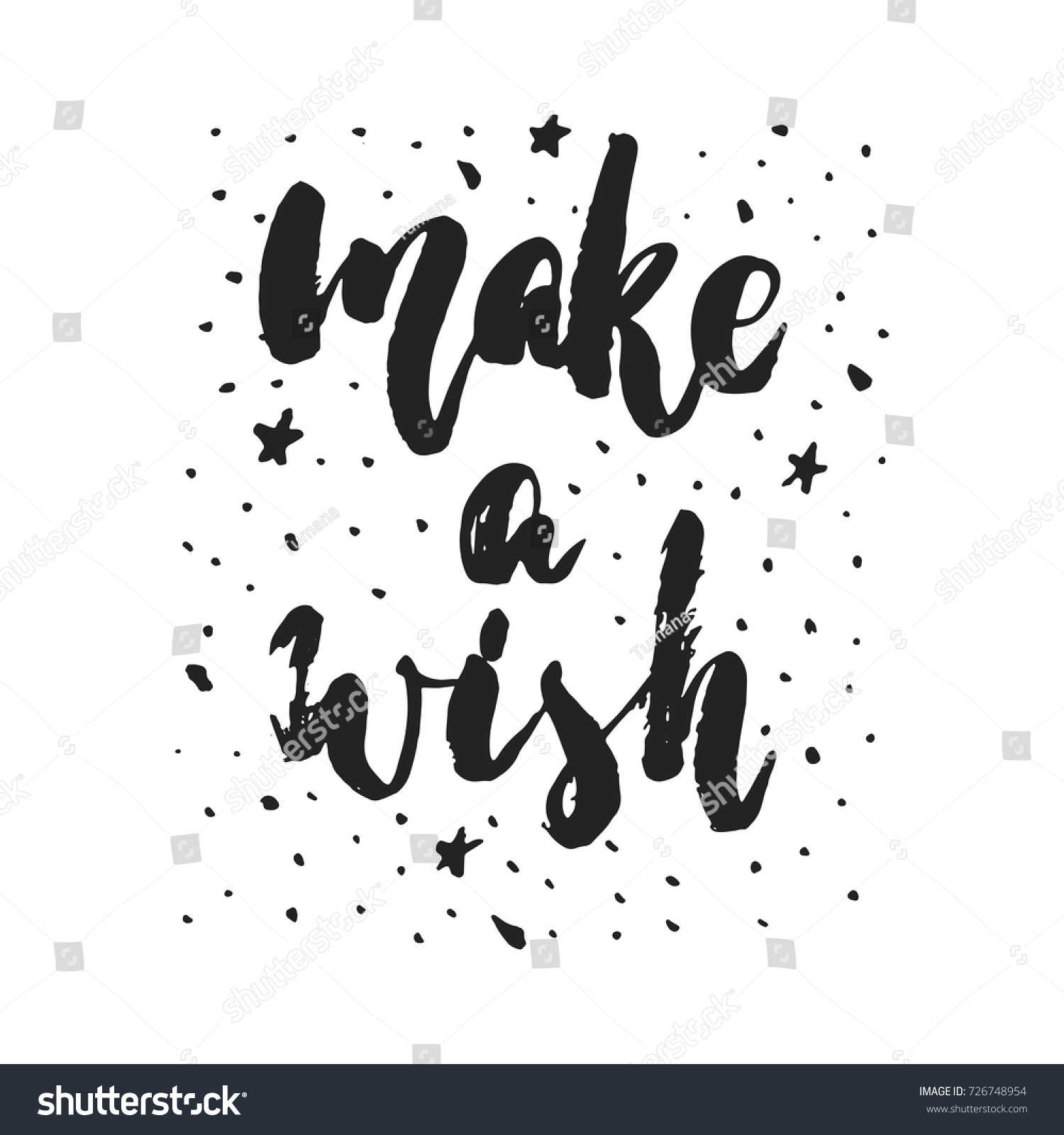 Make A Wish Quotes Make Wish Hand Drawn Christmas New Stock Vector 726748954