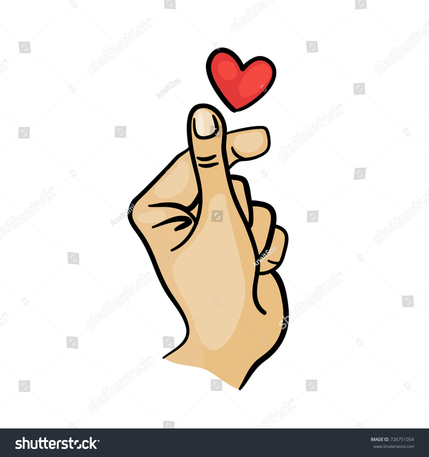 Korean Finger Heart Love You Hangul Stock Vector 726751054