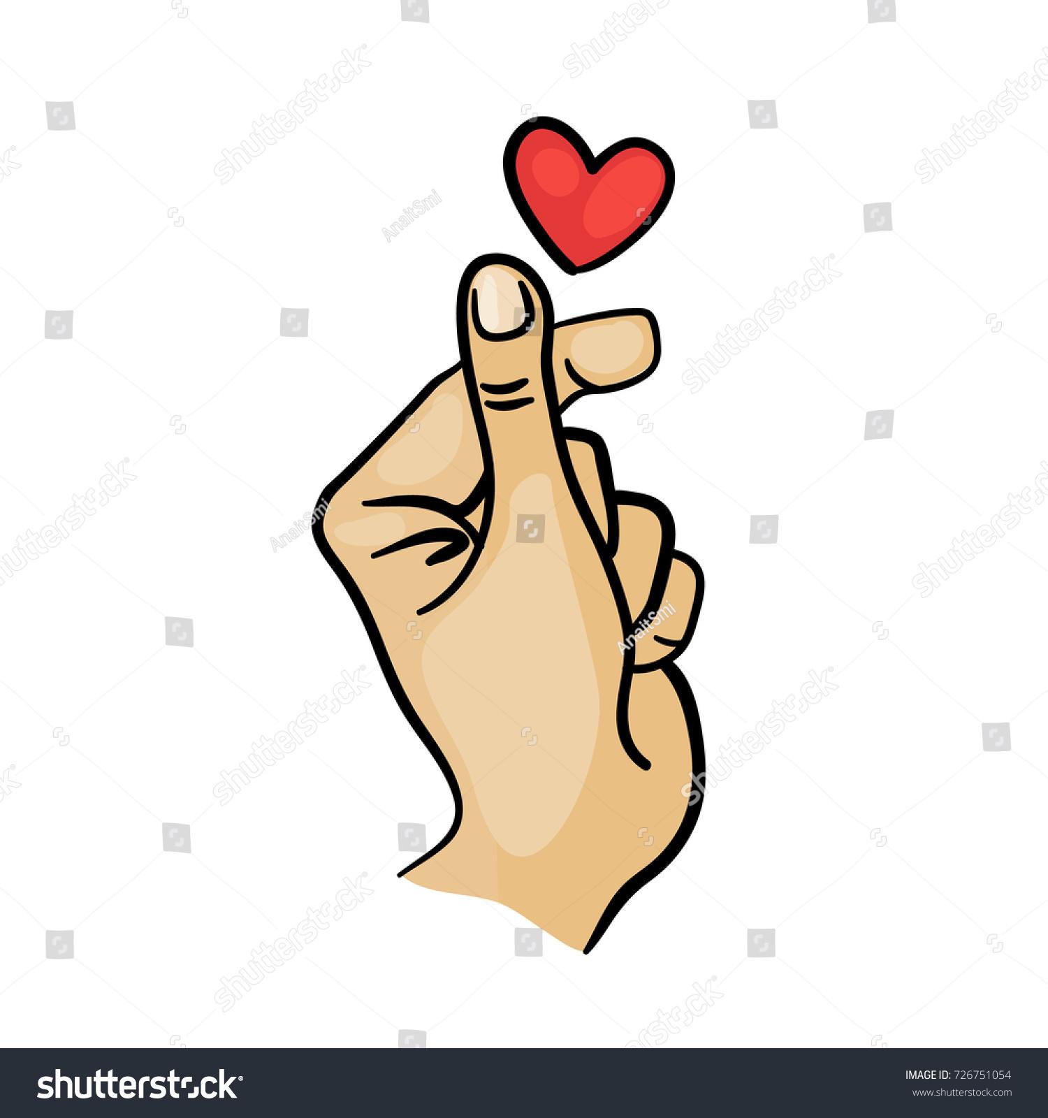 Korean finger heart love you hangul stock vector 726751054 korean finger heart i love you hangul vector illustration korean symbol hand heart biocorpaavc