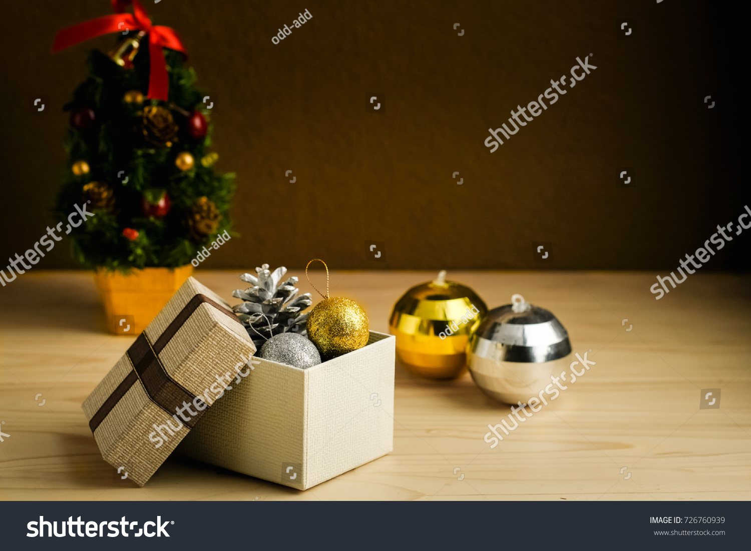 Gift Boxes Gold Silver Balls Christmas Stock Photo (Edit Now ...