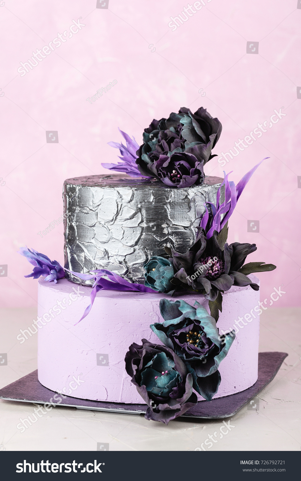 Purple Silver Color Tiered Wedding Cake Stock Photo Edit Now