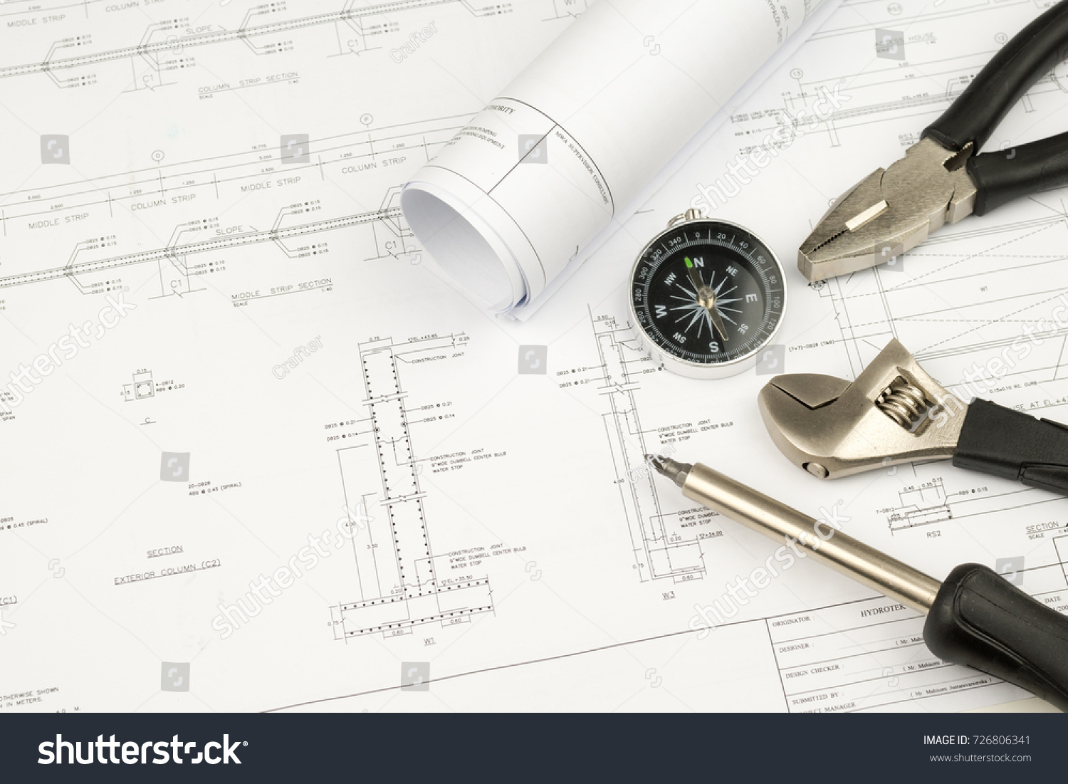 Engineer Construction Business Work Concept Engineering Stock Photo Diagrams Blueprint Paper Drafting And Industrial Equipment Technical Tools