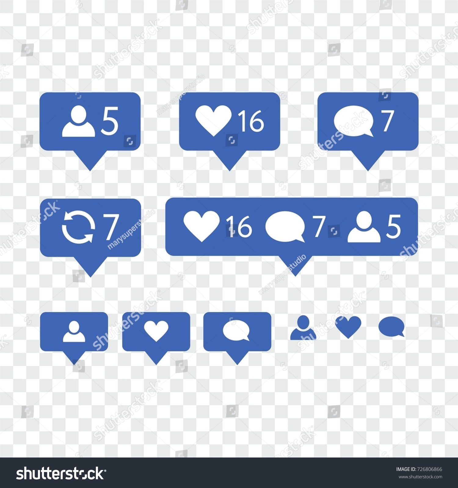 Like symbol message notification set instagram stock vector like symbol message and notification set instagram icons in blue social network vector buycottarizona Choice Image