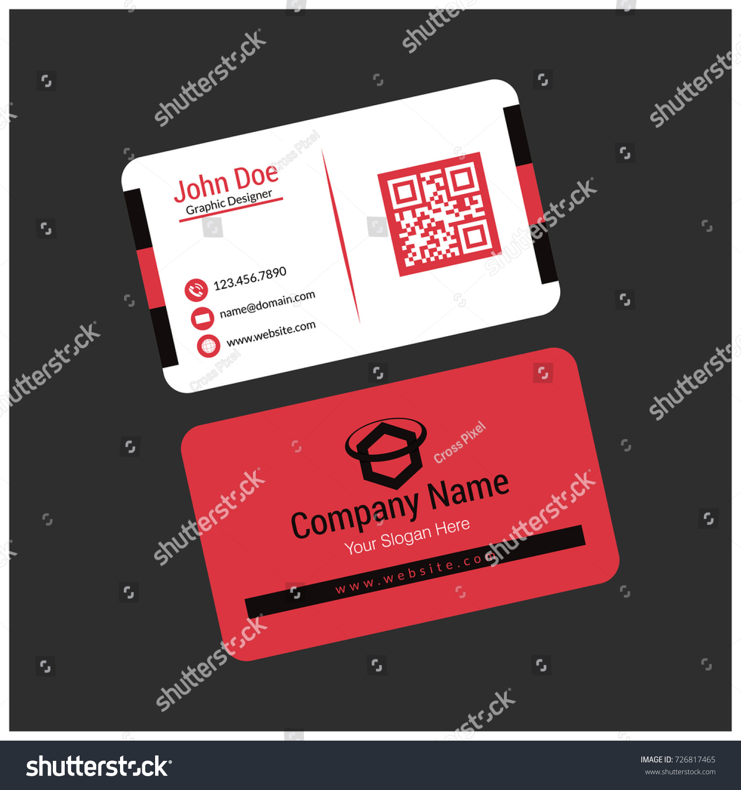 Black white red business card stock vector royalty free 726817465 black white and red business card reheart