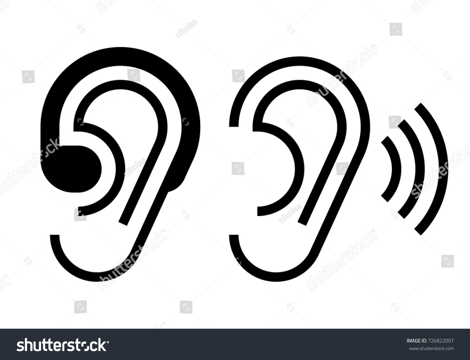 Hearing Aid Ear Icon Hearing Symbol Stock Vector Royalty Free