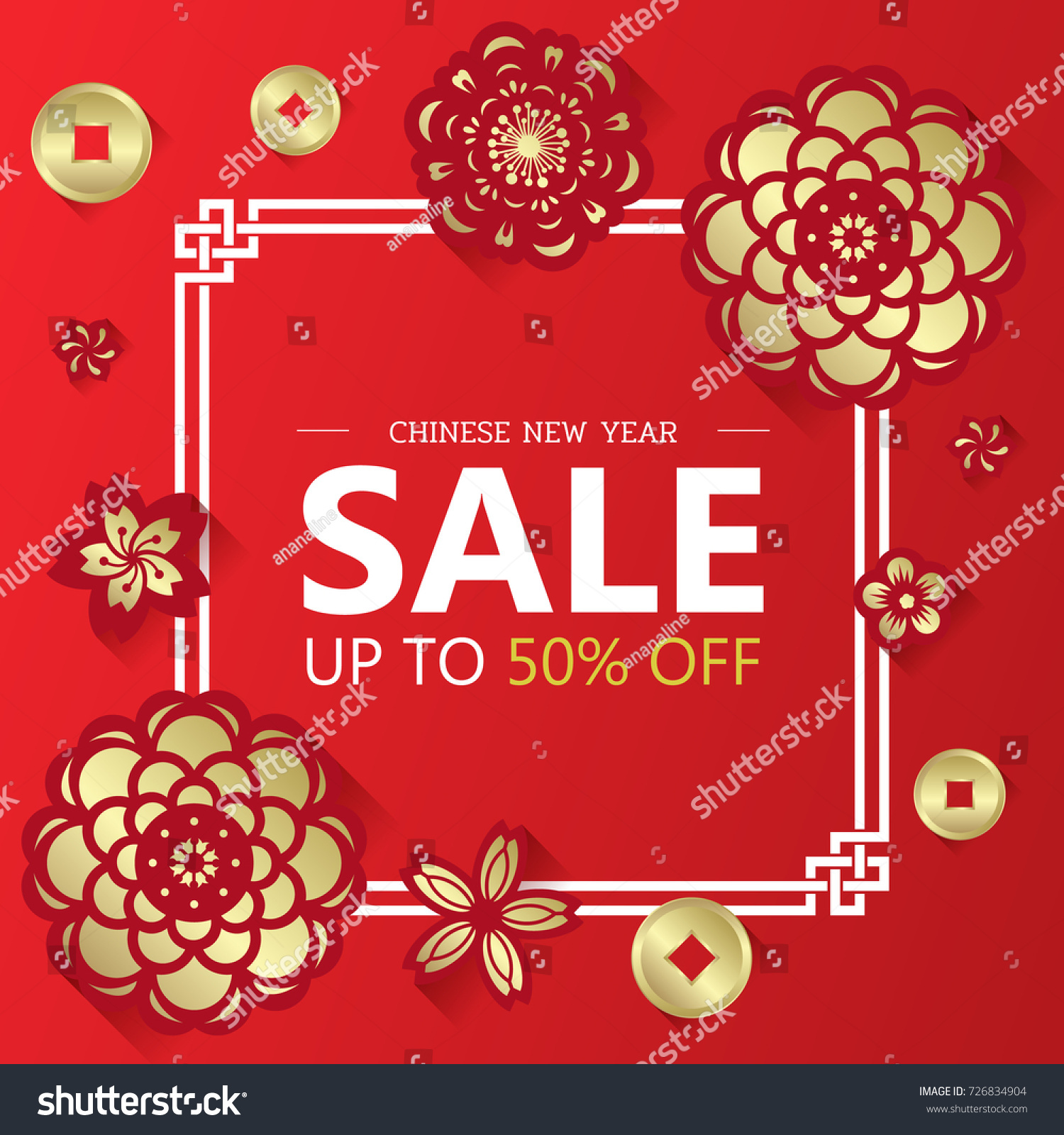 chinese new year sale banner with gold paper cut flower and coin on white china frame