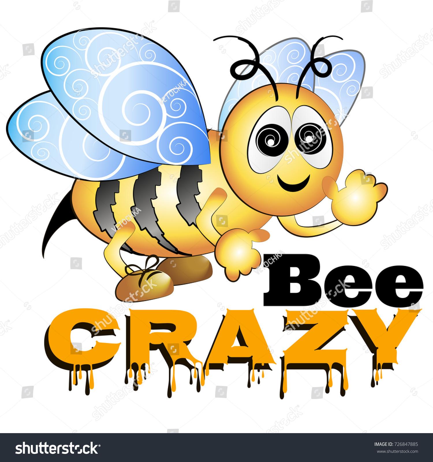 Crazy bee cartoon illustration text stock vector 726847885 crazy bee cartoon illustration with text biocorpaavc
