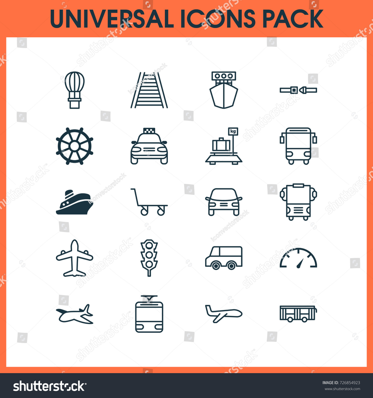 Vehicle Icons Set Collection Safety Belt Stock Vector 726854923