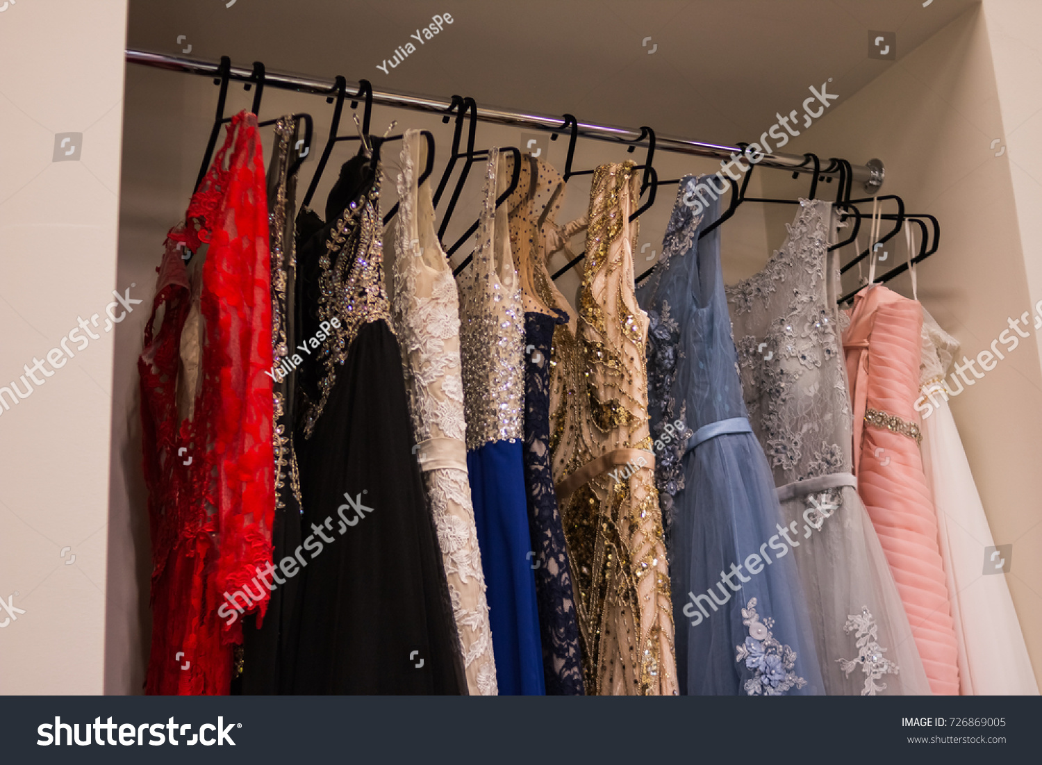 Many Ladies Evening Gown Long Dresses On Hanger In The Dress Rent Shop For Wedding