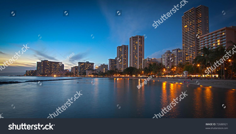 Panorama Waikiki Beach Hotels Honolulu Hawaii Stock Photo
