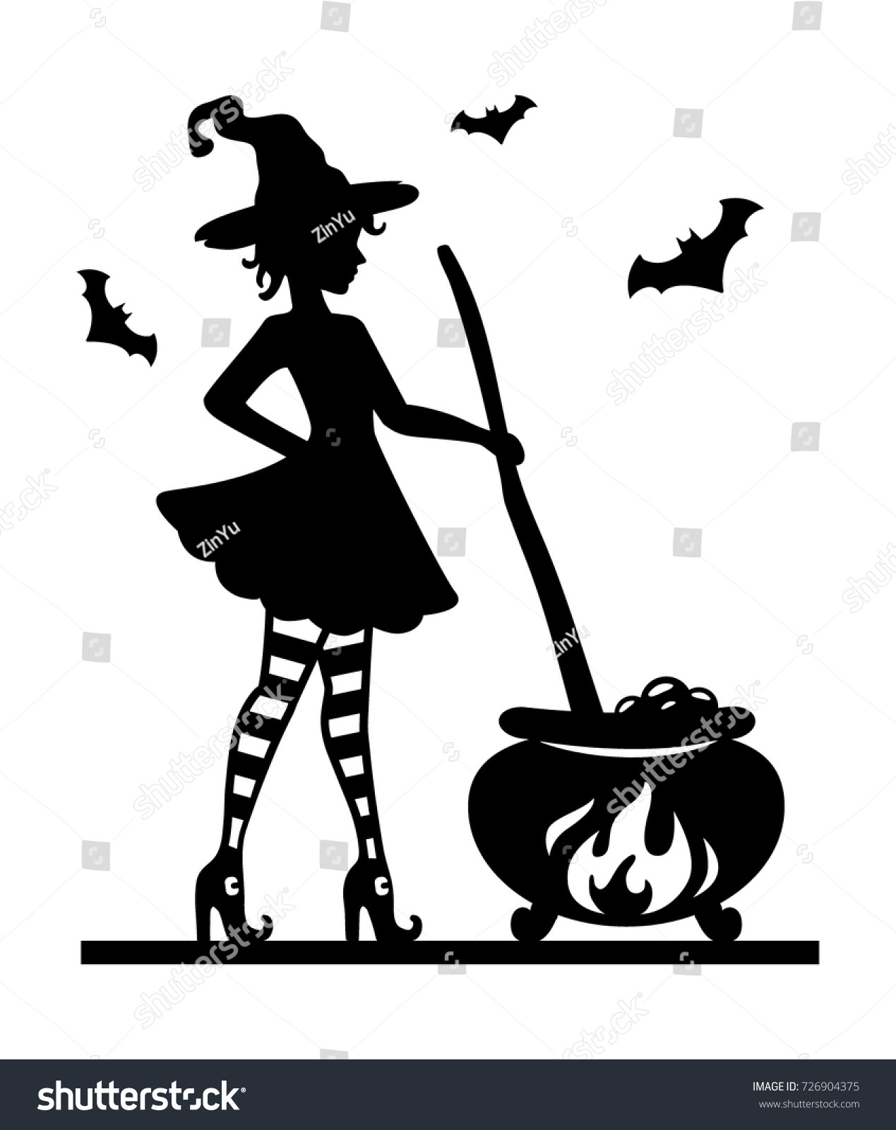 Halloween Template For Laser Cutting. A Cute Young Witch In Striped Socks  And Shoes Brews
