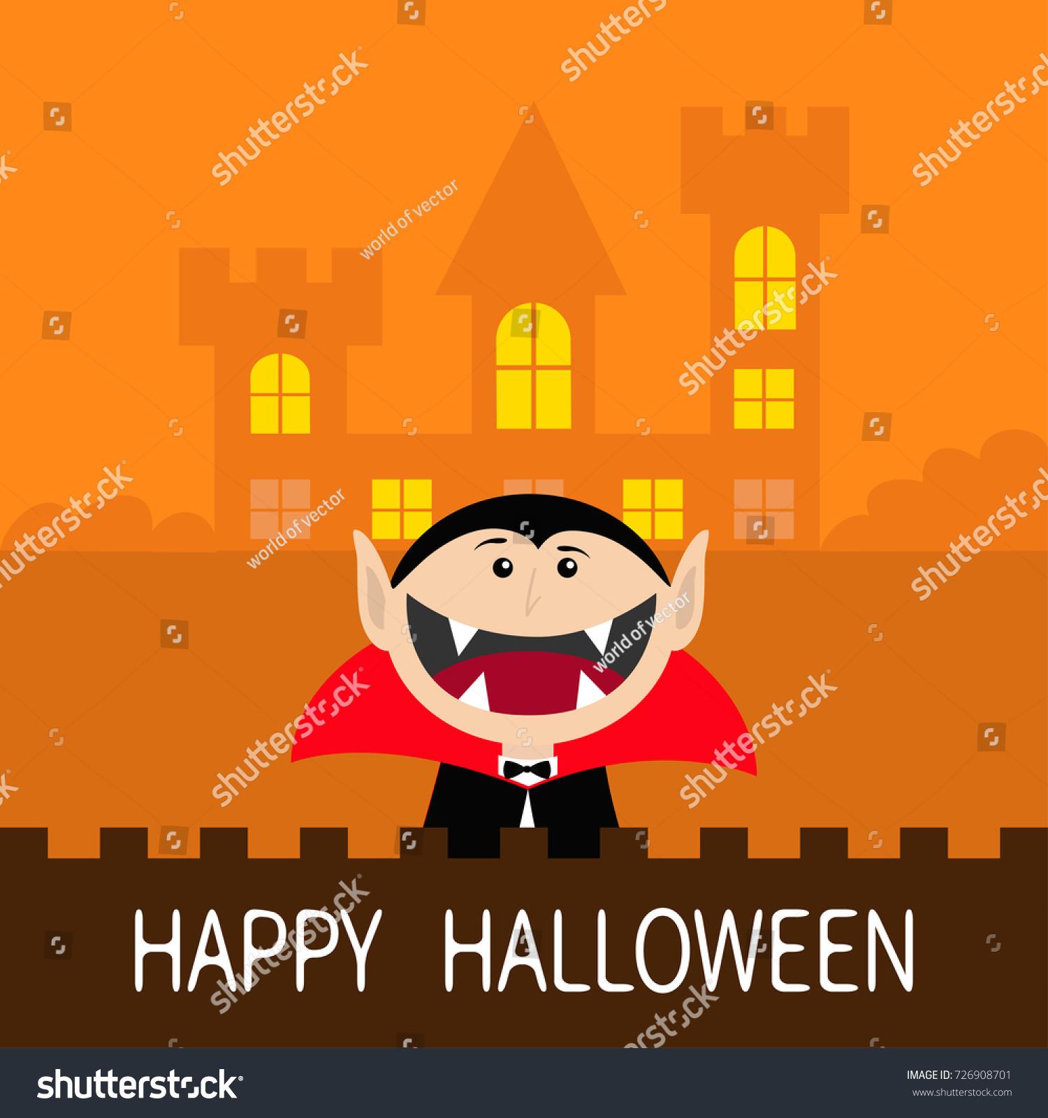 Happy Halloween Count Dracula Head Face Stock Illustration
