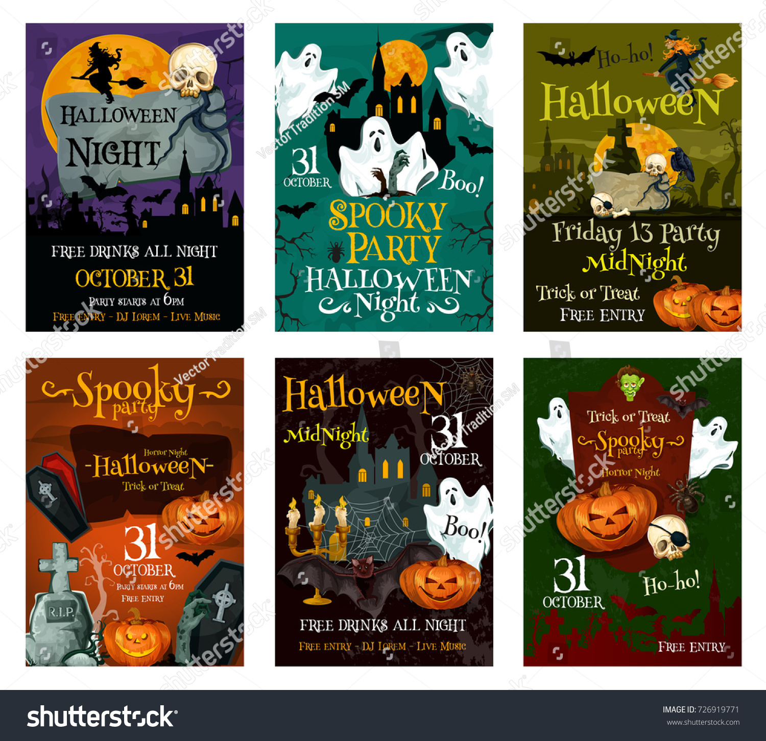 Halloween Holiday Greeting Card Set. Spooky Ghost, Pumpkin And Witch Poster  With Haunted House