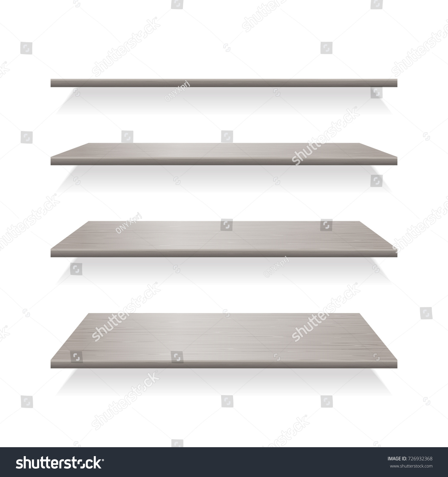 Interior wooden shelves free vector - Gray Wood Shelves With Shadows Shelf Wood For Interior Empty Furniture Vector Illustration