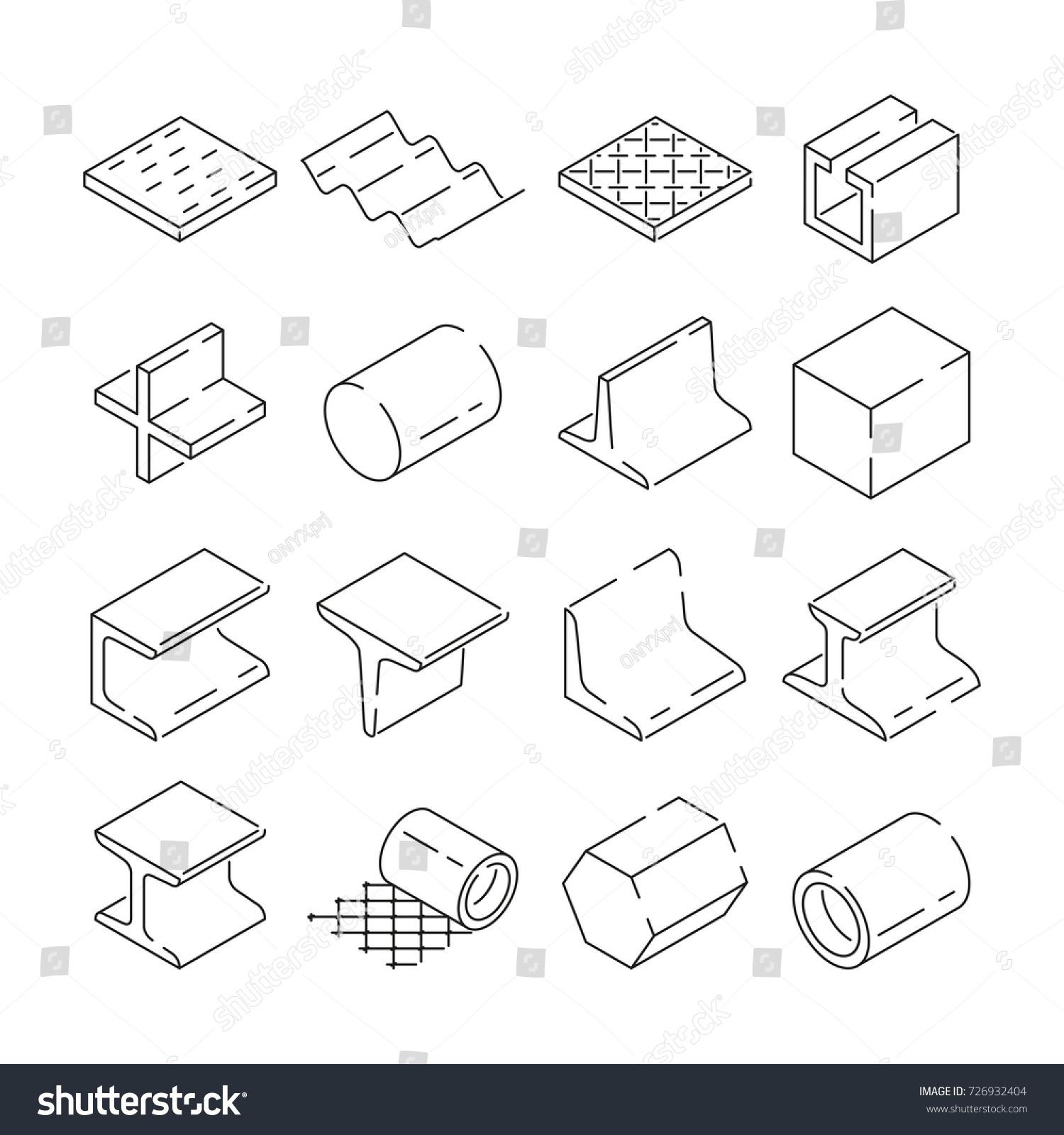 Isometric Symbols Metallurgy Pictures Iron Steel Stock Vector