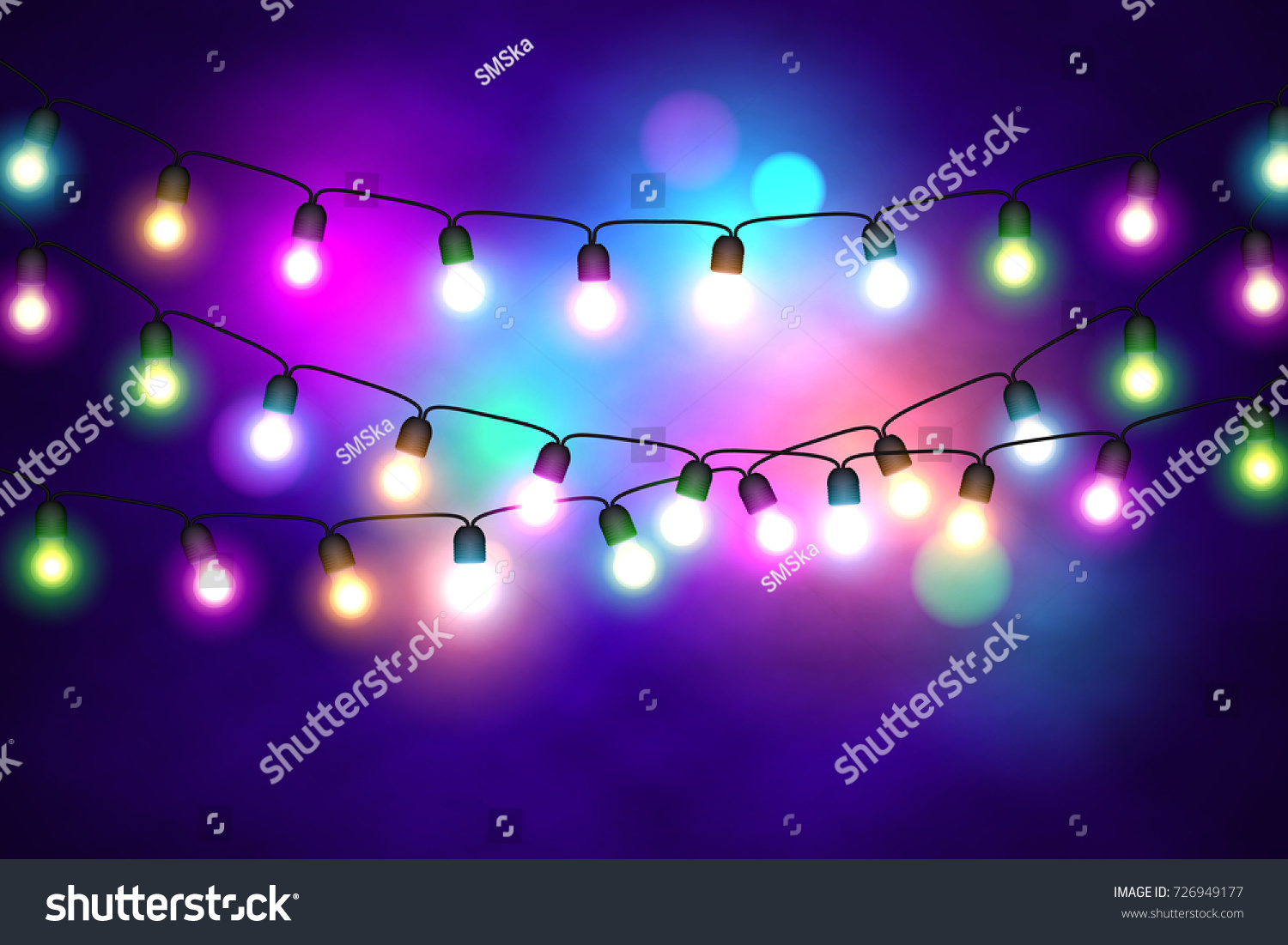 christmas lights festive decorations glowing new years neon garland bright xmas background vector - Newest Christmas Lights