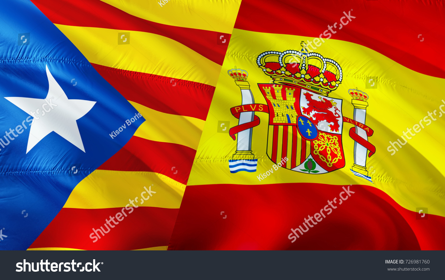 referendum catalonia spain flags concept waving stock illustration