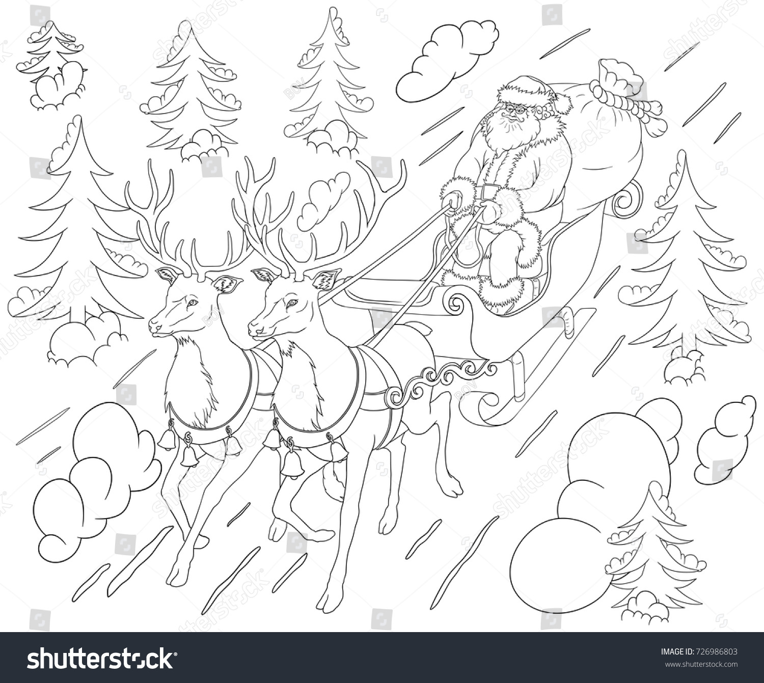 new year with santa claus coloring book santa on a sleigh rushes in the middle