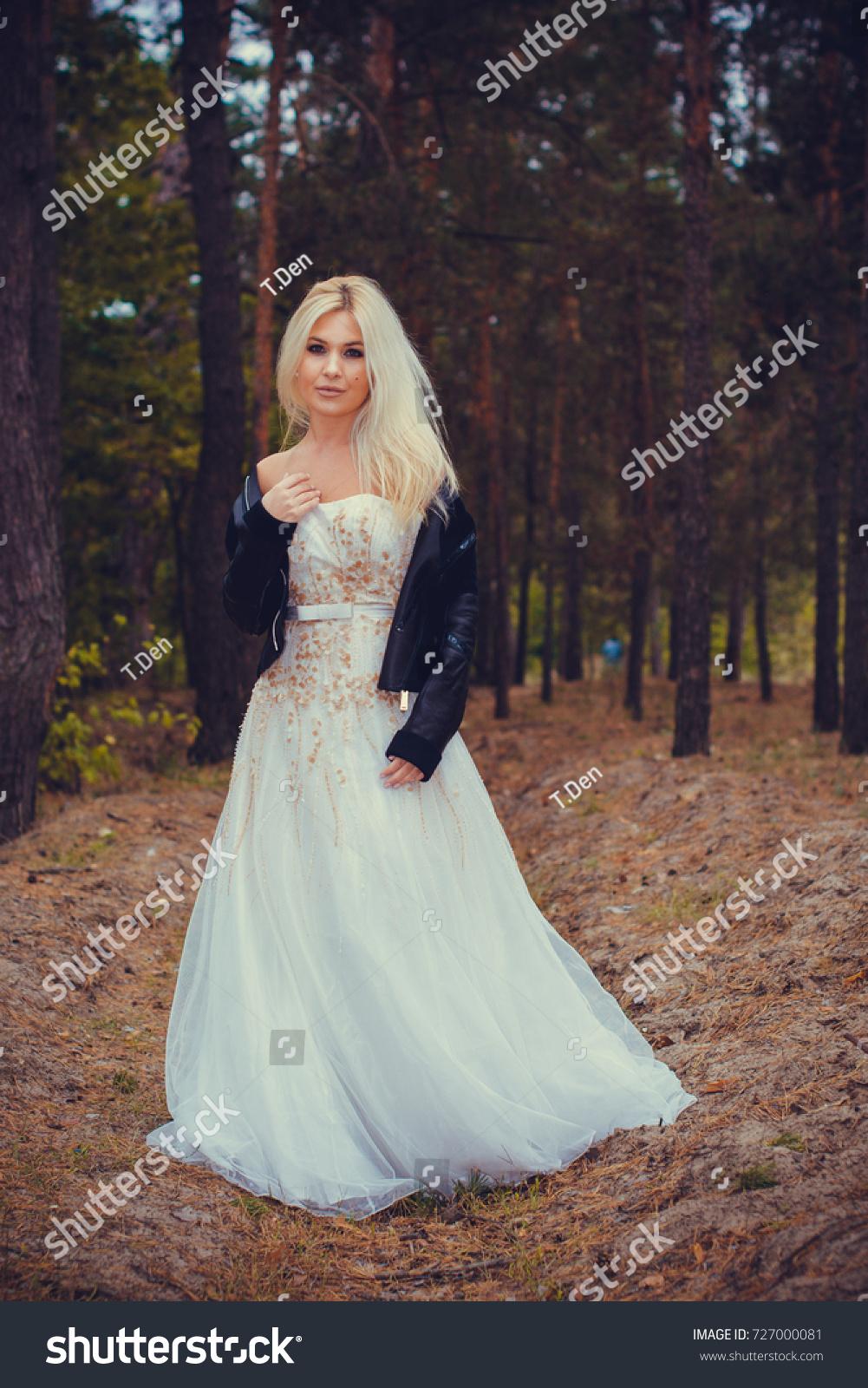 Runaway Bride Wedding Dress Leather Jacket Stock Photo (Safe to Use ...