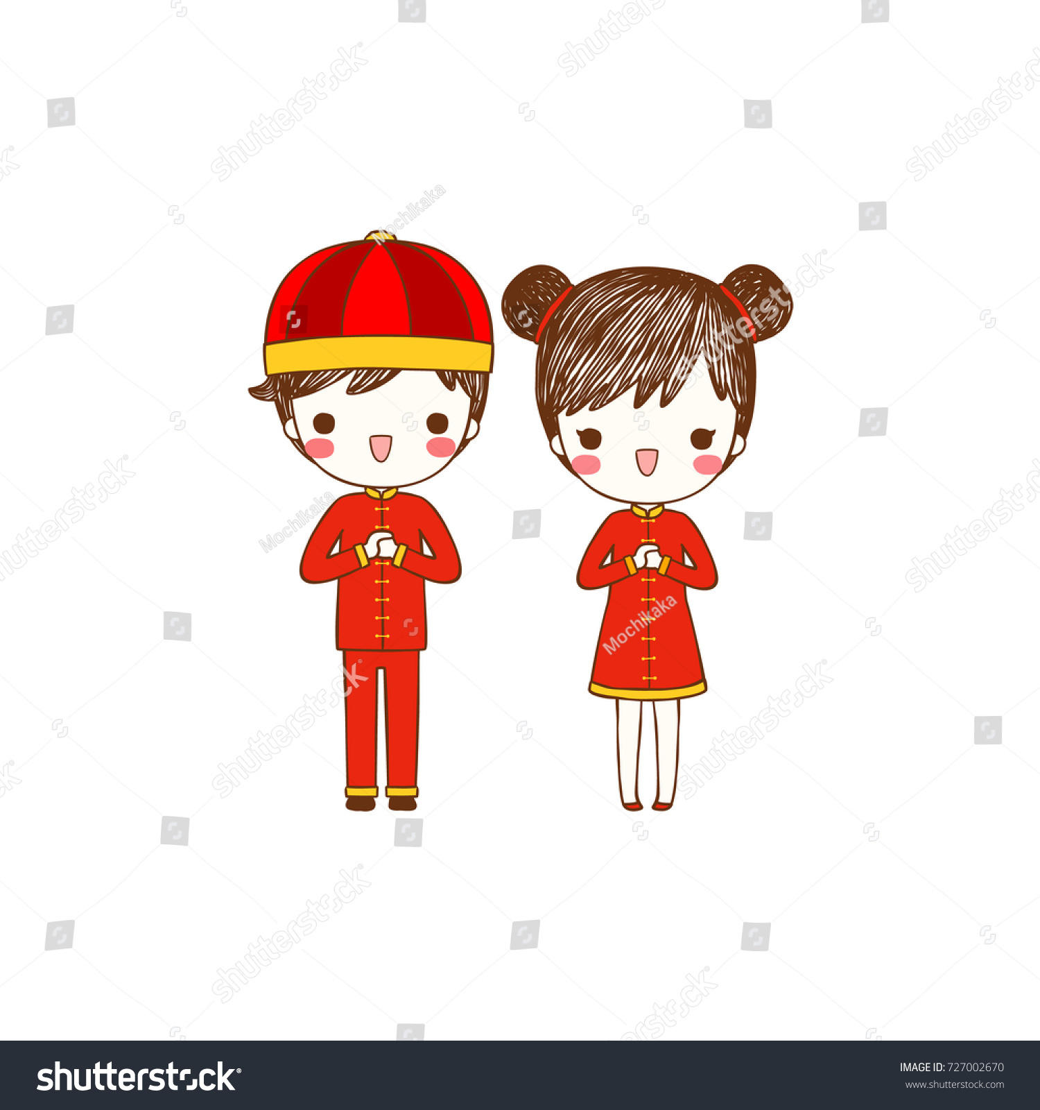 happy chinese new year 2018 with cute cartoon boy and girl in traditional chinese clothes