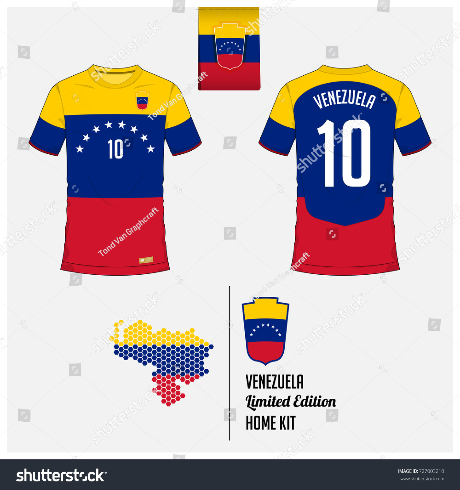 Soccer jersey football kit template venezuela stock vector soccer jersey or football kit template for venezuela national football team front and back pronofoot35fo Gallery