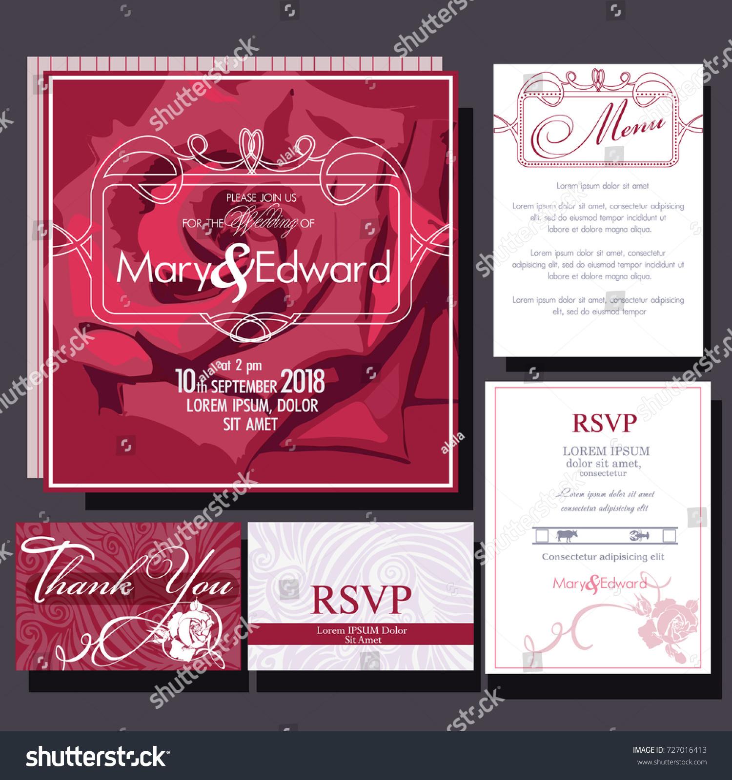 Set Wedding Cards Crimson Rose RSVP Stock Vector (Royalty Free ...