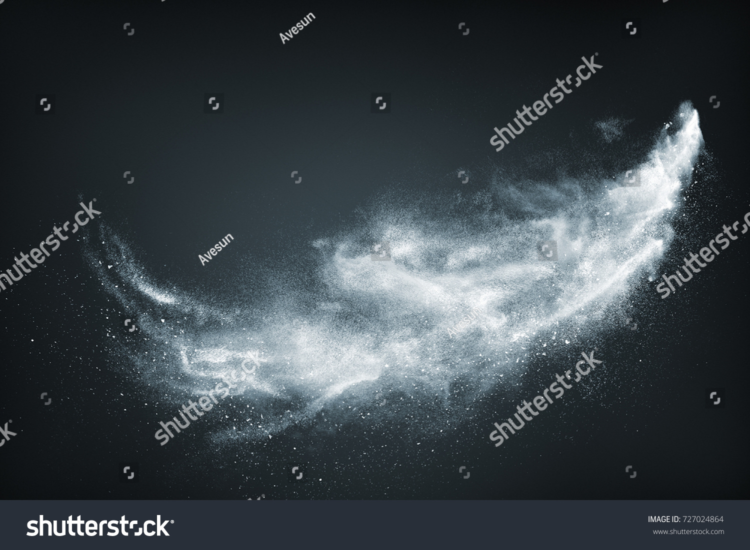 Abstract design of white powder snow cloud explosion on dark background #727024864