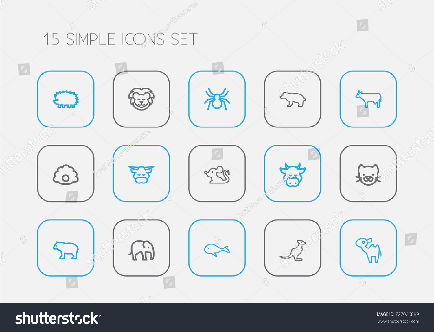 Set 15 editable zoology outline icons stock vector 727026889 set of 15 editable zoology outline icons includes symbols such as panda kitty biocorpaavc Image collections
